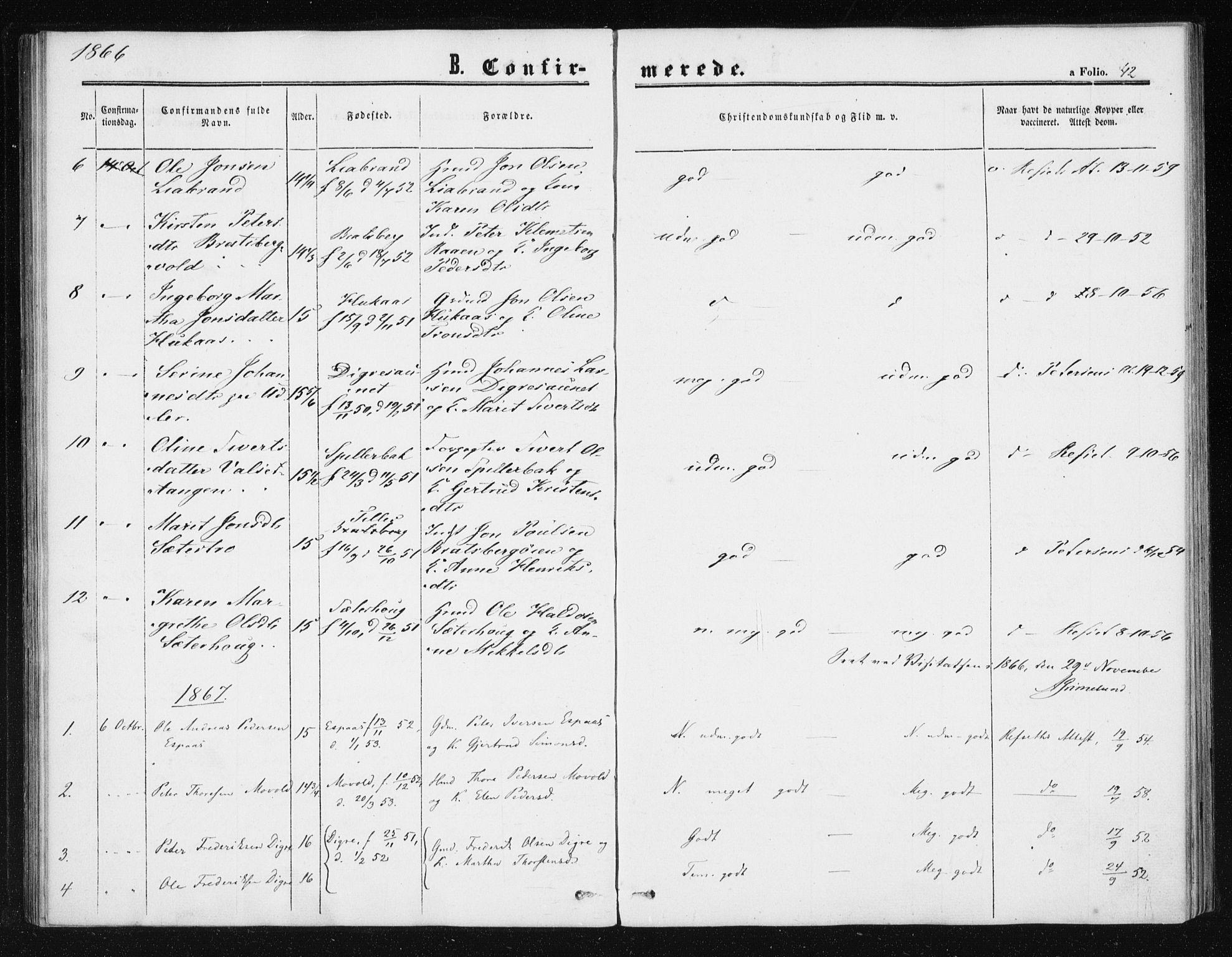 SAT, Ministerialprotokoller, klokkerbøker og fødselsregistre - Sør-Trøndelag, 608/L0333: Ministerialbok nr. 608A02, 1862-1876, s. 42