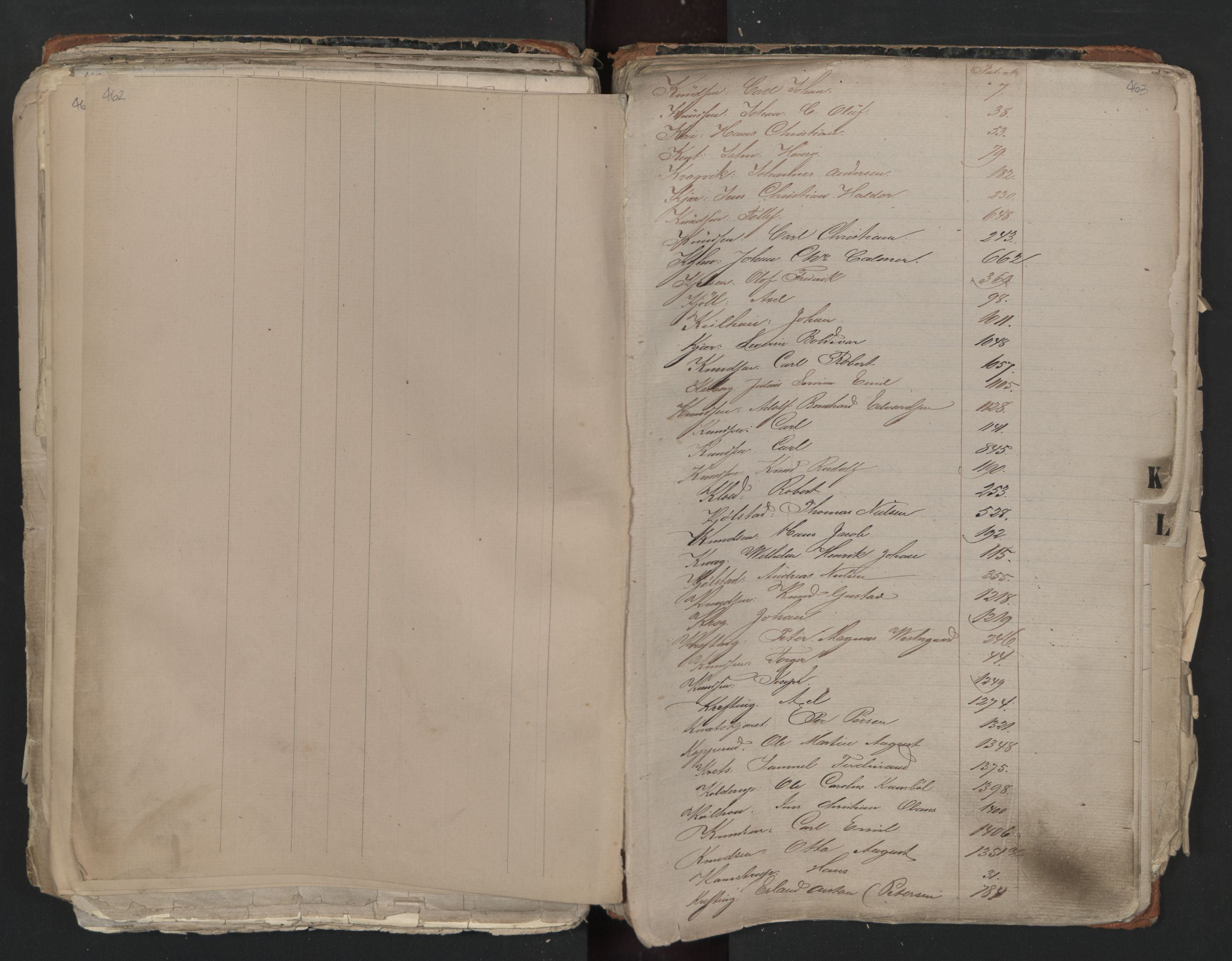 SAO, Oslo sjømannskontor, F/Fa/L0001: Register for Kristiania krets, 1866-1891, s. 462-463