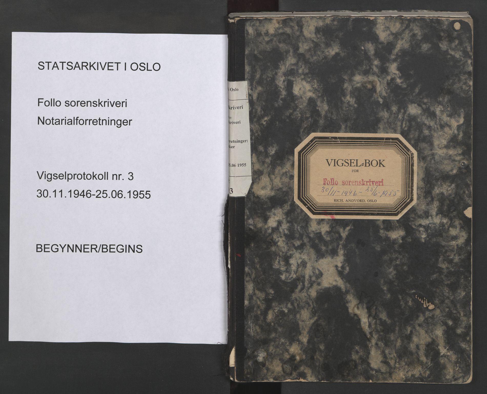 SAO, Follo sorenskriveri, L/La/Lab/L0003: Vigselsbok, 1946-1955, s. upaginert