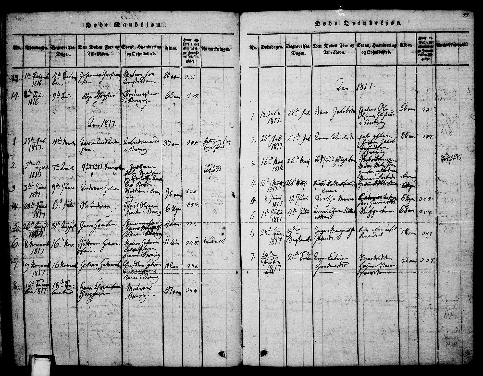 SAKO, Brevik kirkebøker, F/Fa/L0004: Ministerialbok nr. 4, 1814-1846, s. 99