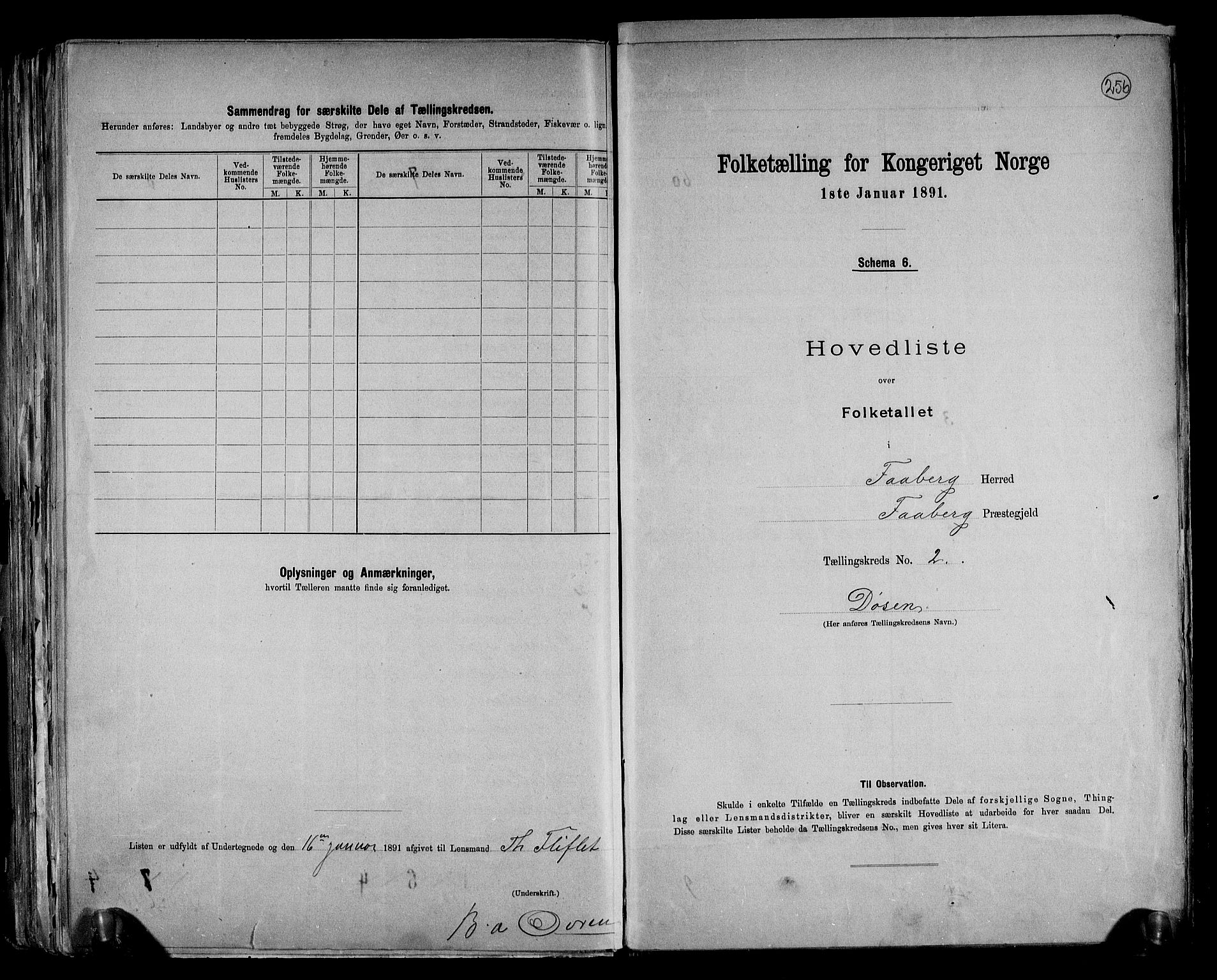RA, Folketelling 1891 for 0524 Fåberg herred, 1891, s. 7
