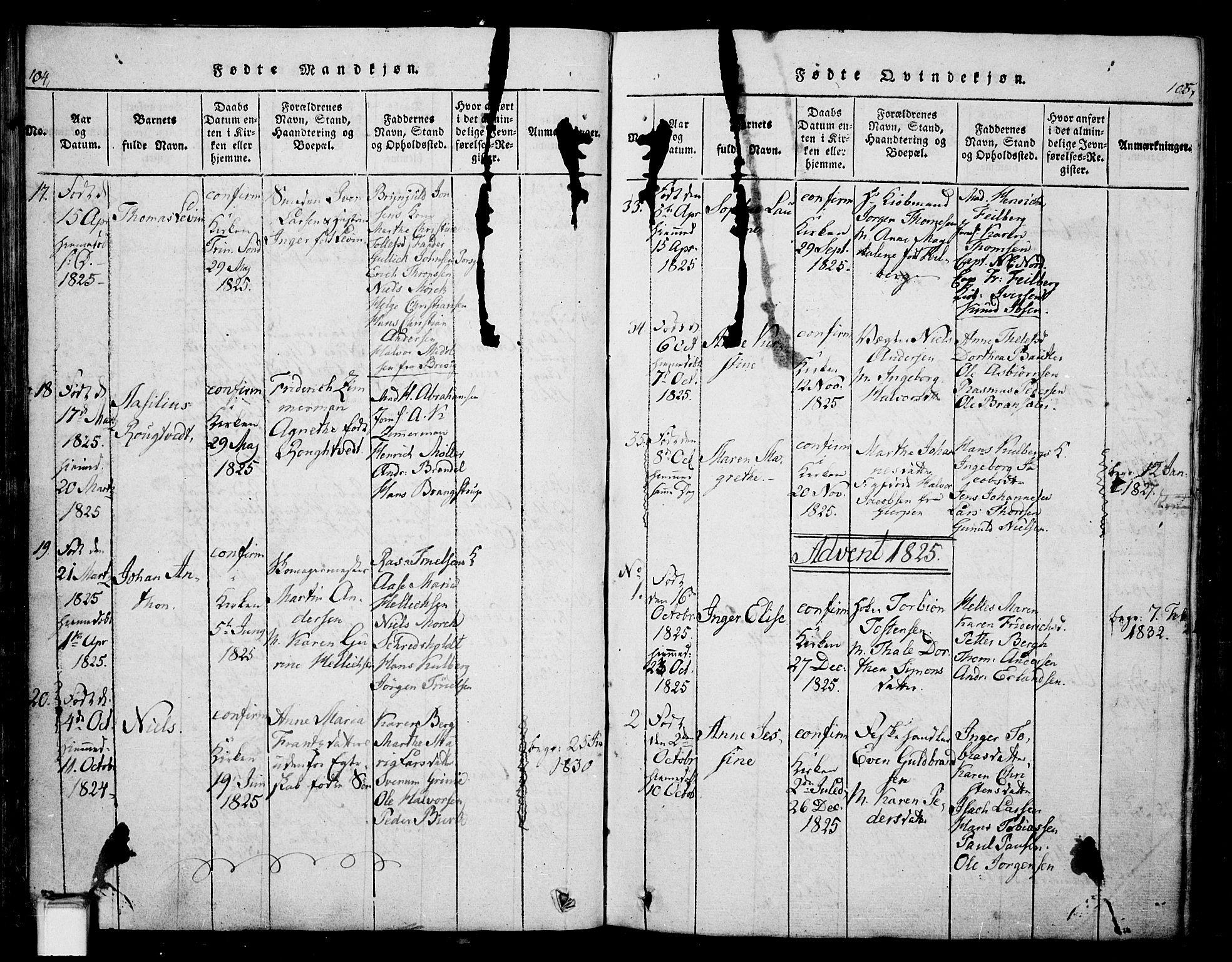 SAKO, Skien kirkebøker, G/Ga/L0002: Klokkerbok nr. 2, 1814-1842, s. 104-105