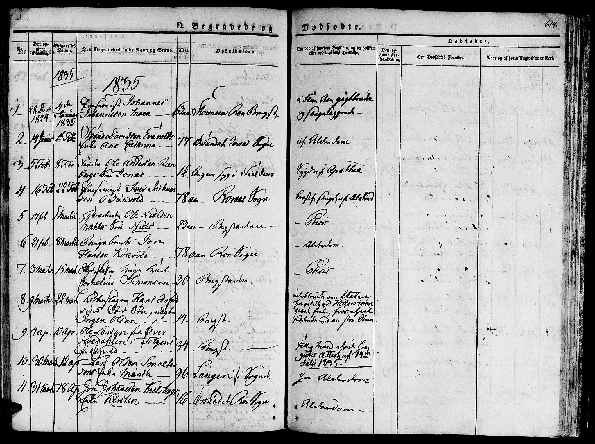 SAT, Ministerialprotokoller, klokkerbøker og fødselsregistre - Sør-Trøndelag, 681/L0930: Ministerialbok nr. 681A08, 1829-1844, s. 614