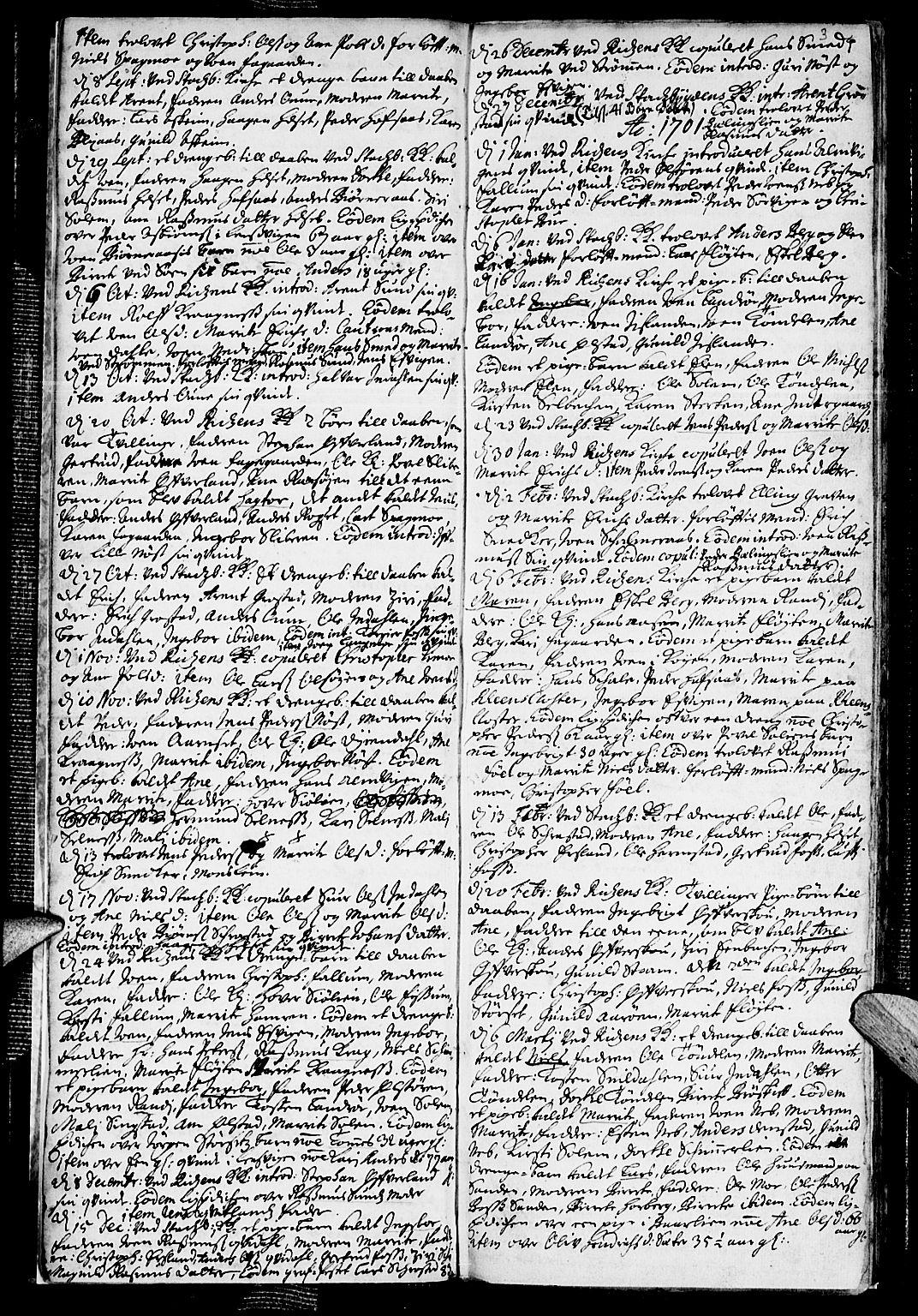SAT, Ministerialprotokoller, klokkerbøker og fødselsregistre - Sør-Trøndelag, 646/L0603: Ministerialbok nr. 646A01, 1700-1734, s. 3