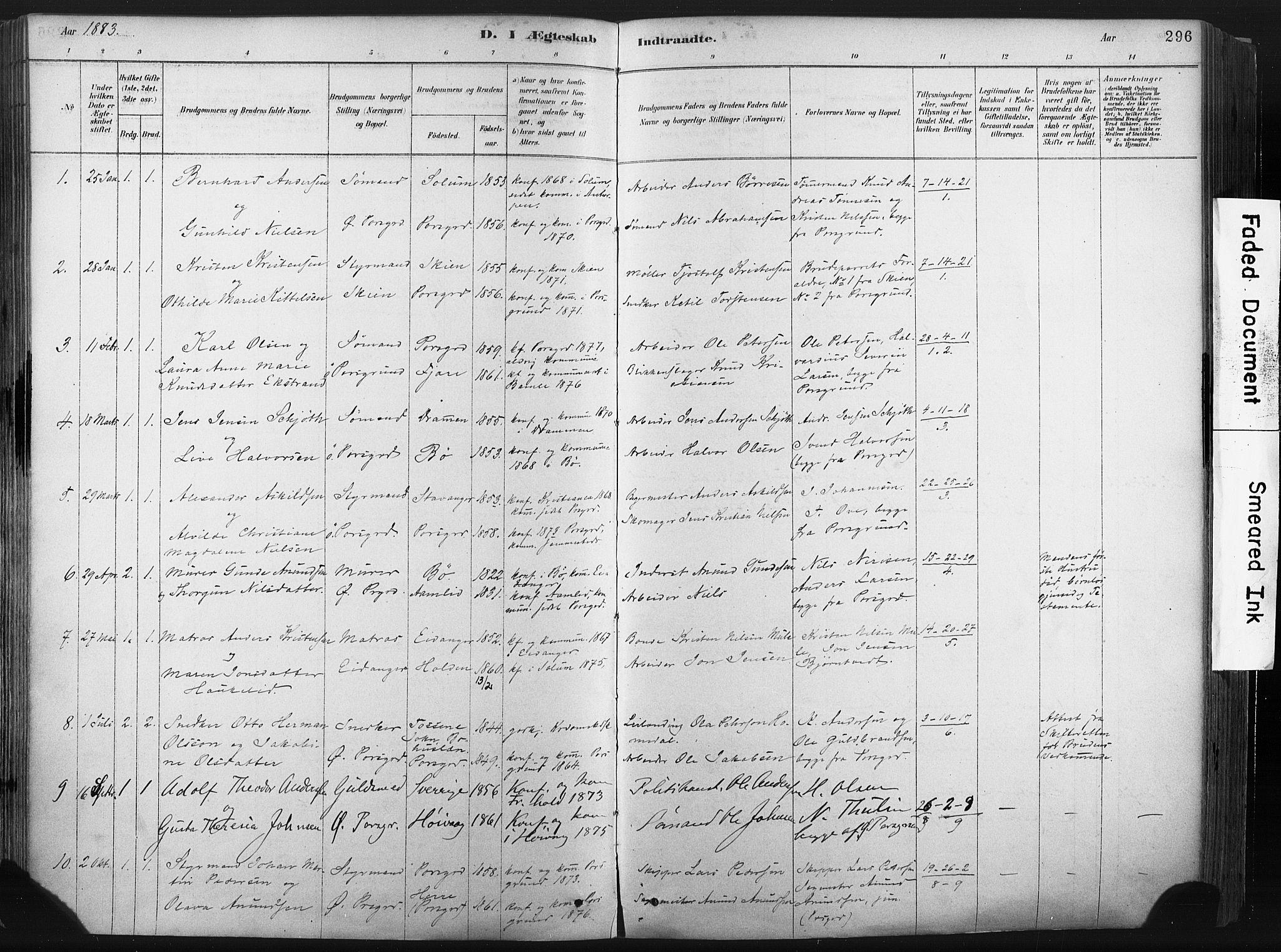SAKO, Porsgrunn kirkebøker , F/Fa/L0008: Ministerialbok nr. 8, 1878-1895, s. 296