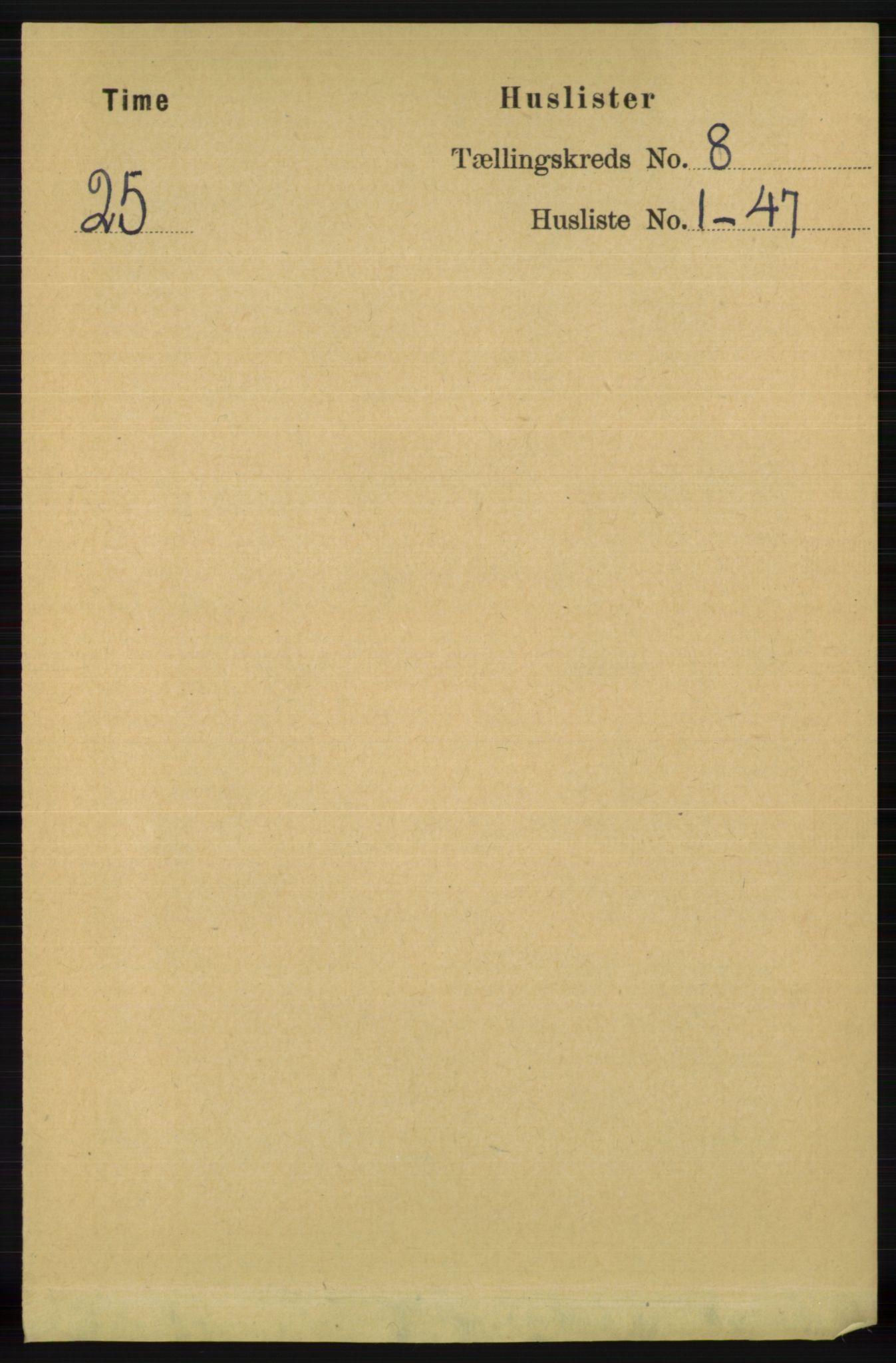 RA, Folketelling 1891 for 1121 Time herred, 1891, s. 2919
