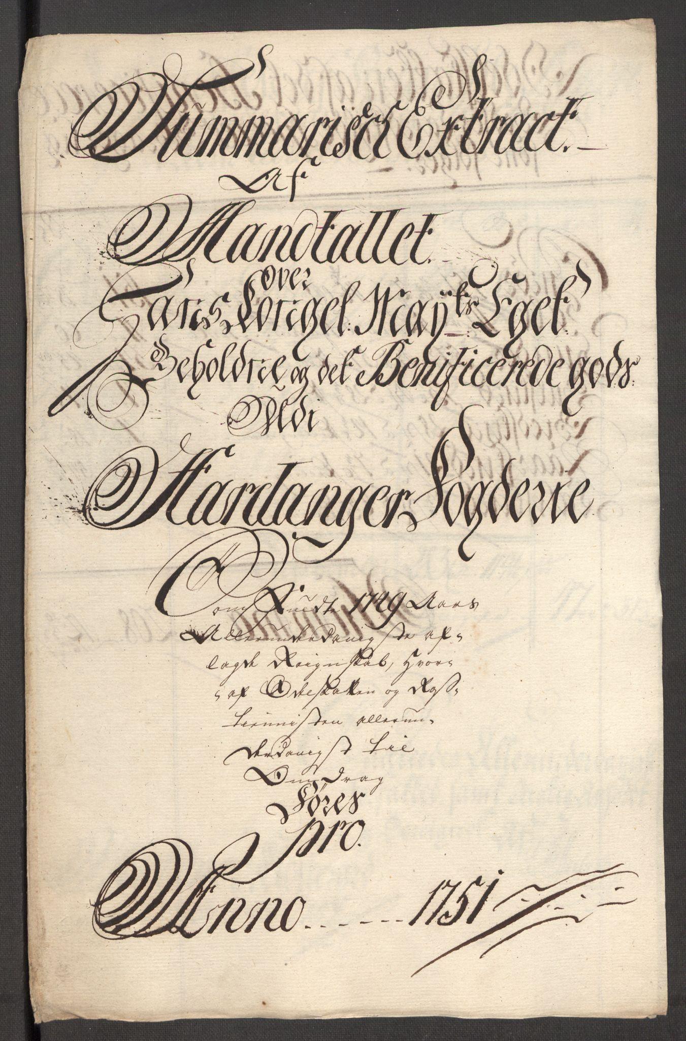 RA, Rentekammeret inntil 1814, Reviderte regnskaper, Fogderegnskap, R48/L3056: Fogderegnskap Sunnhordland og Hardanger, 1751, s. 500