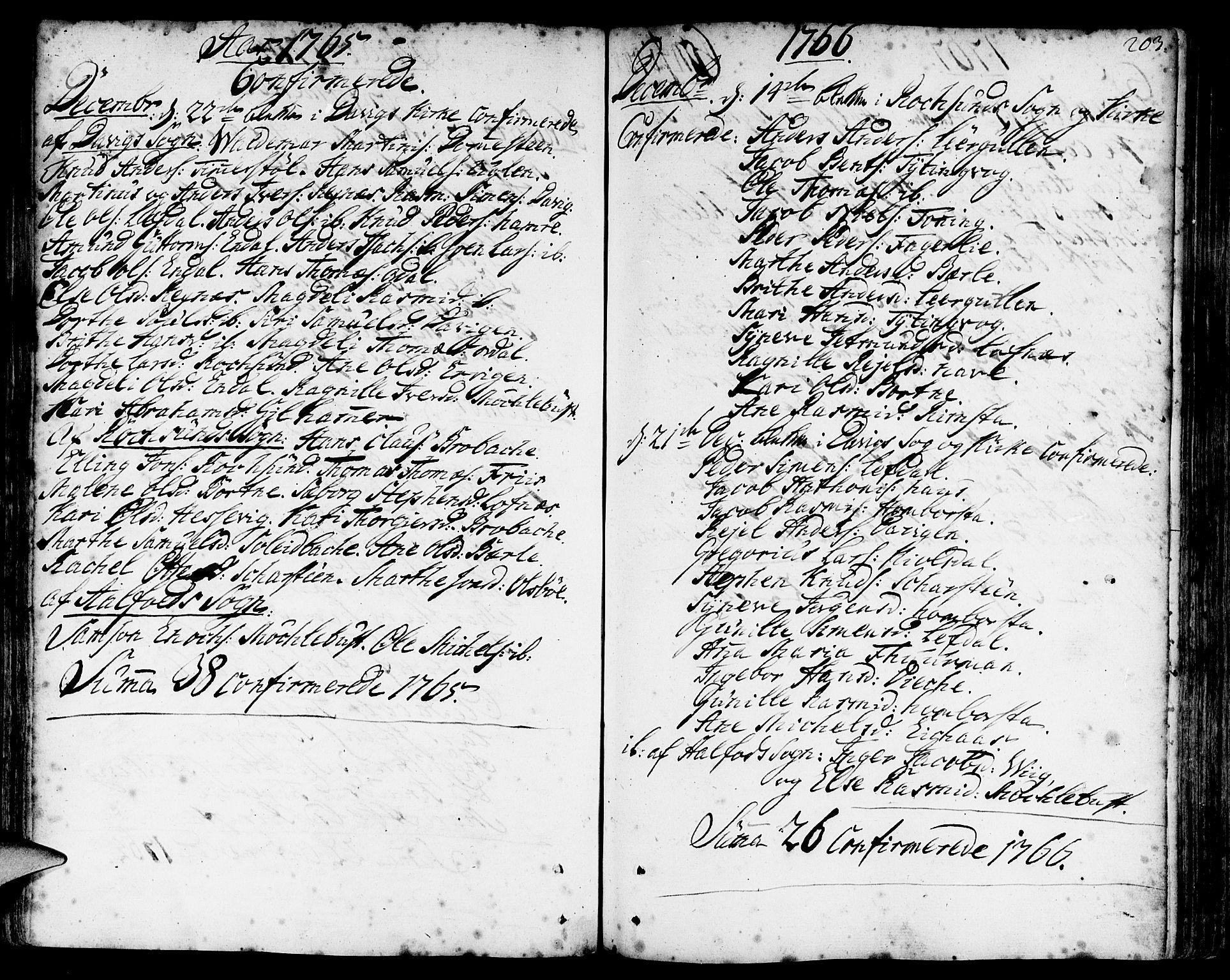 SAB, Davik Sokneprestembete, Ministerialbok nr. A 2, 1742-1816, s. 203