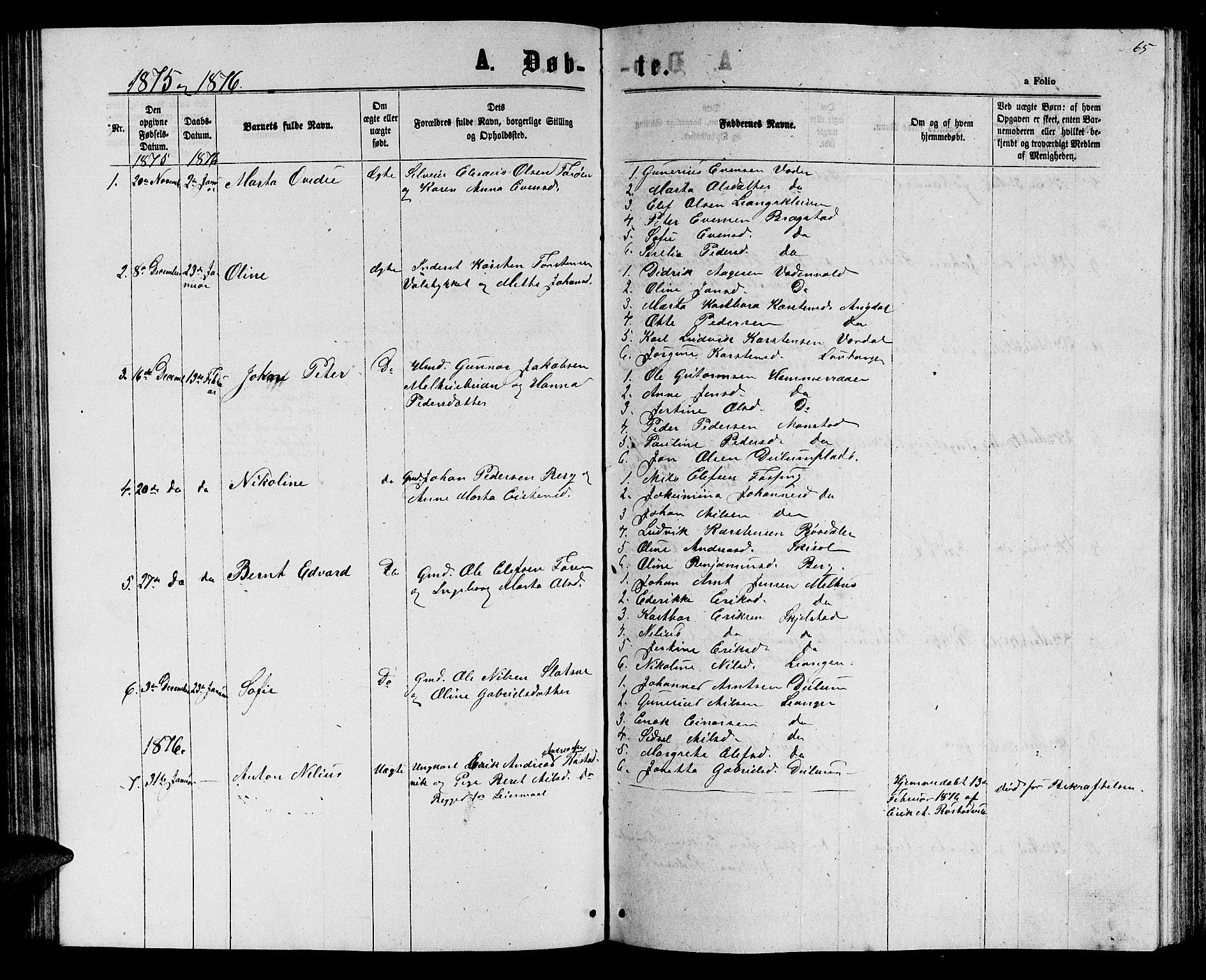SAT, Ministerialprotokoller, klokkerbøker og fødselsregistre - Nord-Trøndelag, 714/L0133: Klokkerbok nr. 714C02, 1865-1877, s. 65