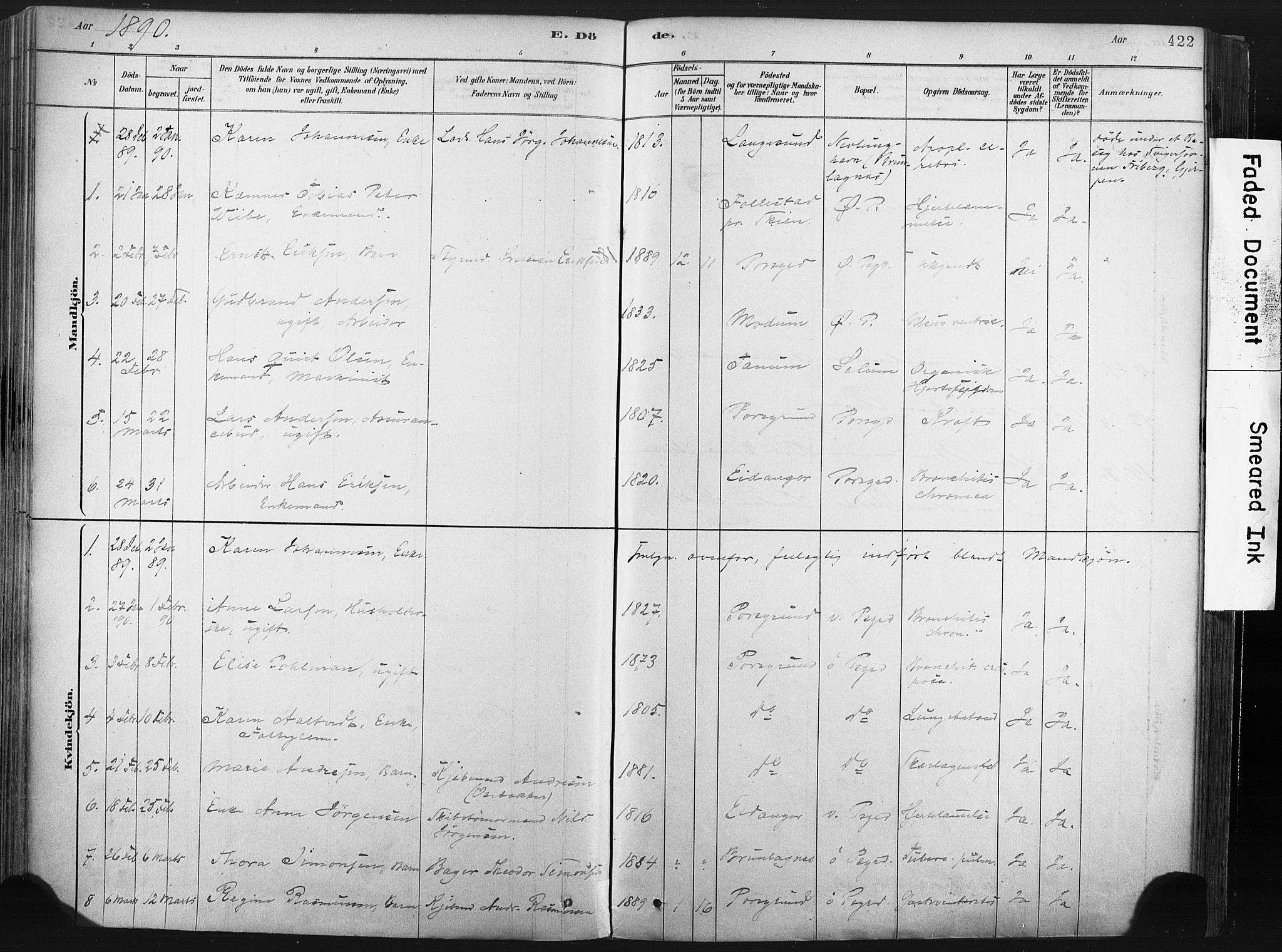 SAKO, Porsgrunn kirkebøker , F/Fa/L0008: Ministerialbok nr. 8, 1878-1895, s. 422