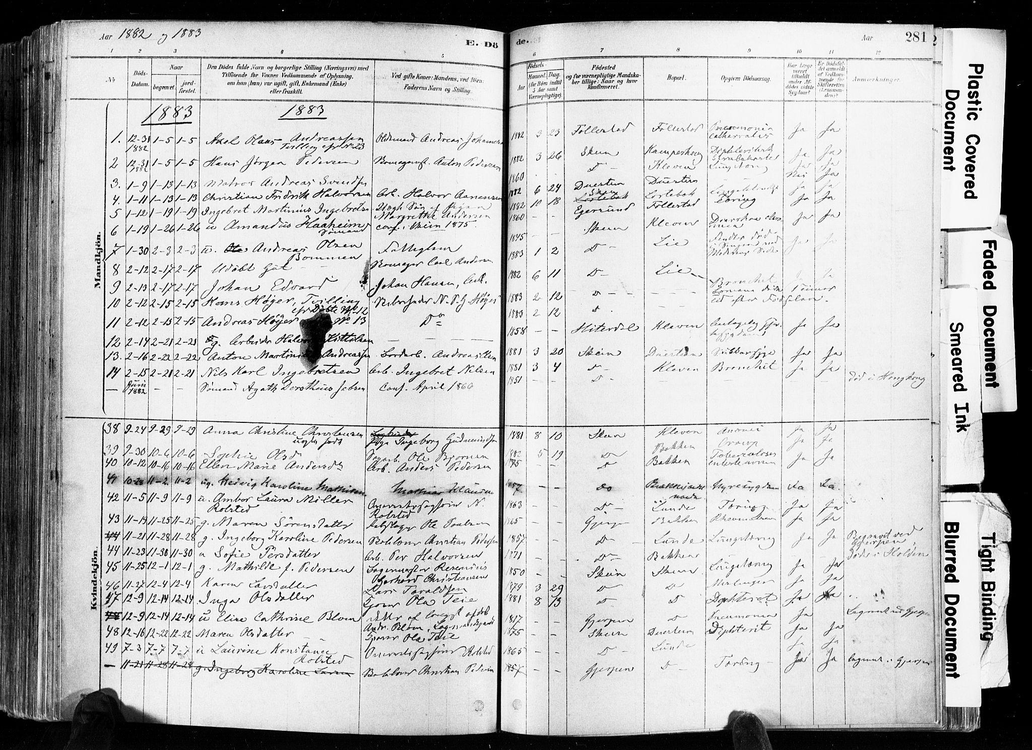 SAKO, Skien kirkebøker, F/Fa/L0009: Ministerialbok nr. 9, 1878-1890, s. 281