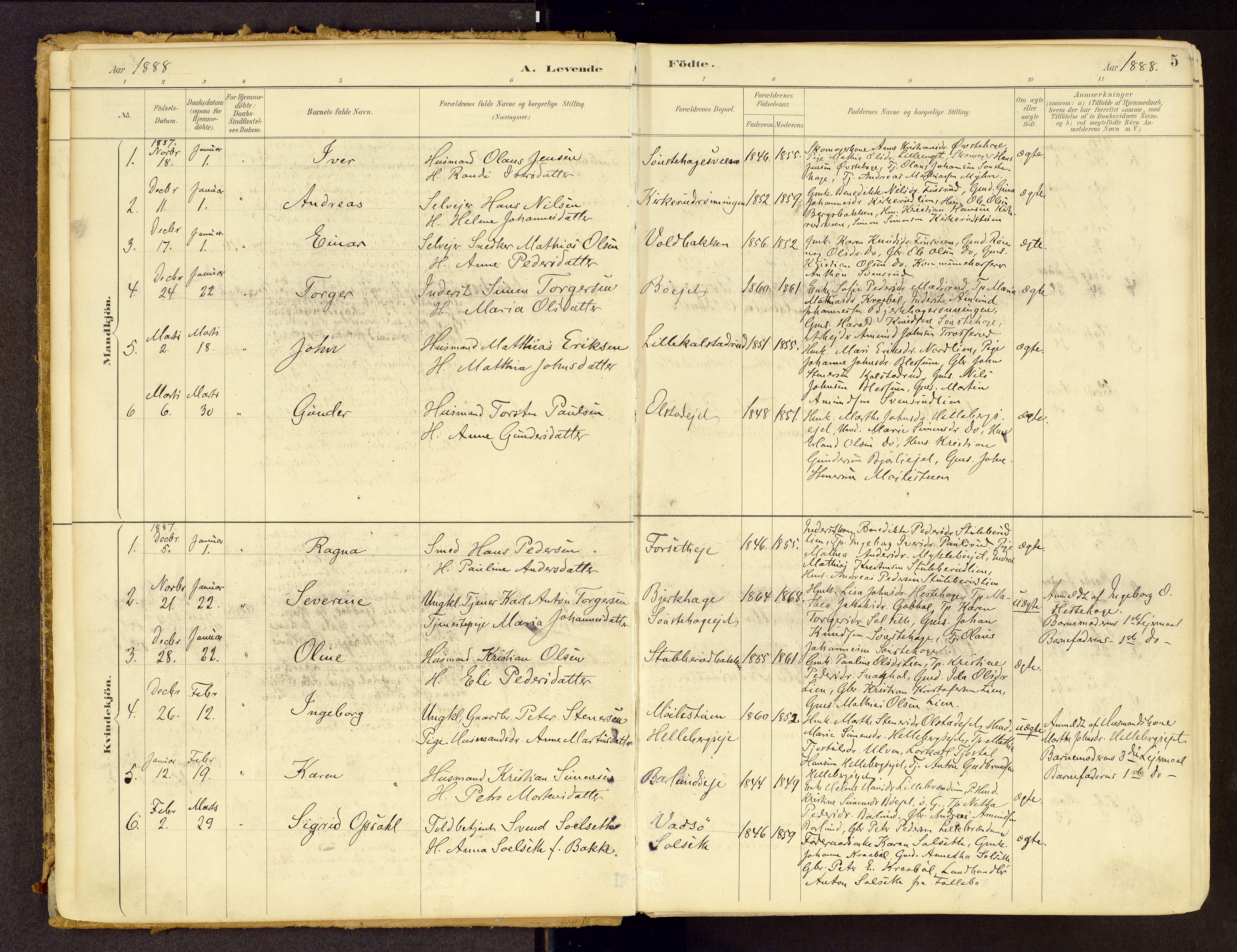 SAH, Vestre Gausdal prestekontor, Ministerialbok nr. 1, 1887-1914, s. 5