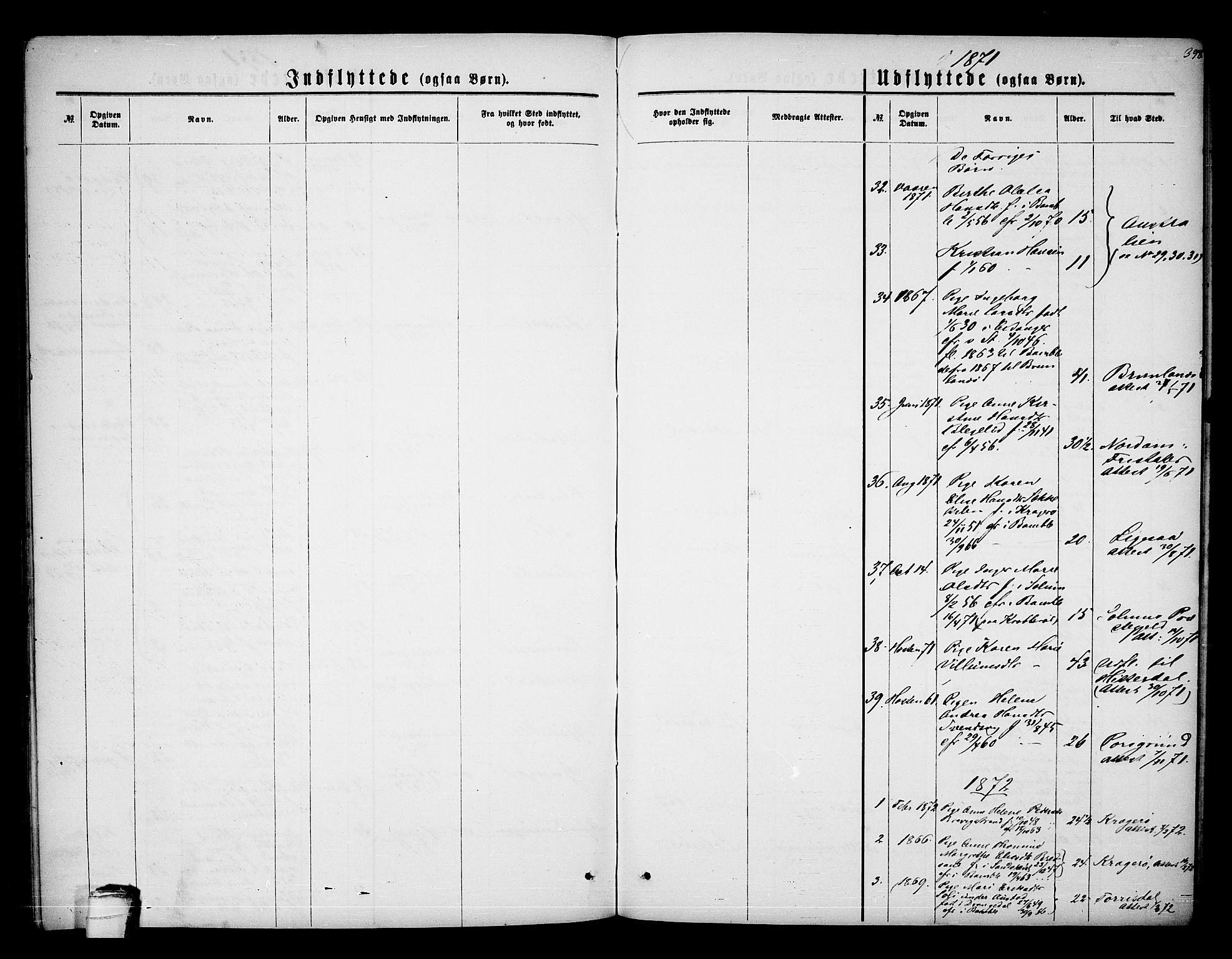 SAKO, Bamble kirkebøker, G/Ga/L0006: Klokkerbok nr. I 6, 1860-1876, s. 398