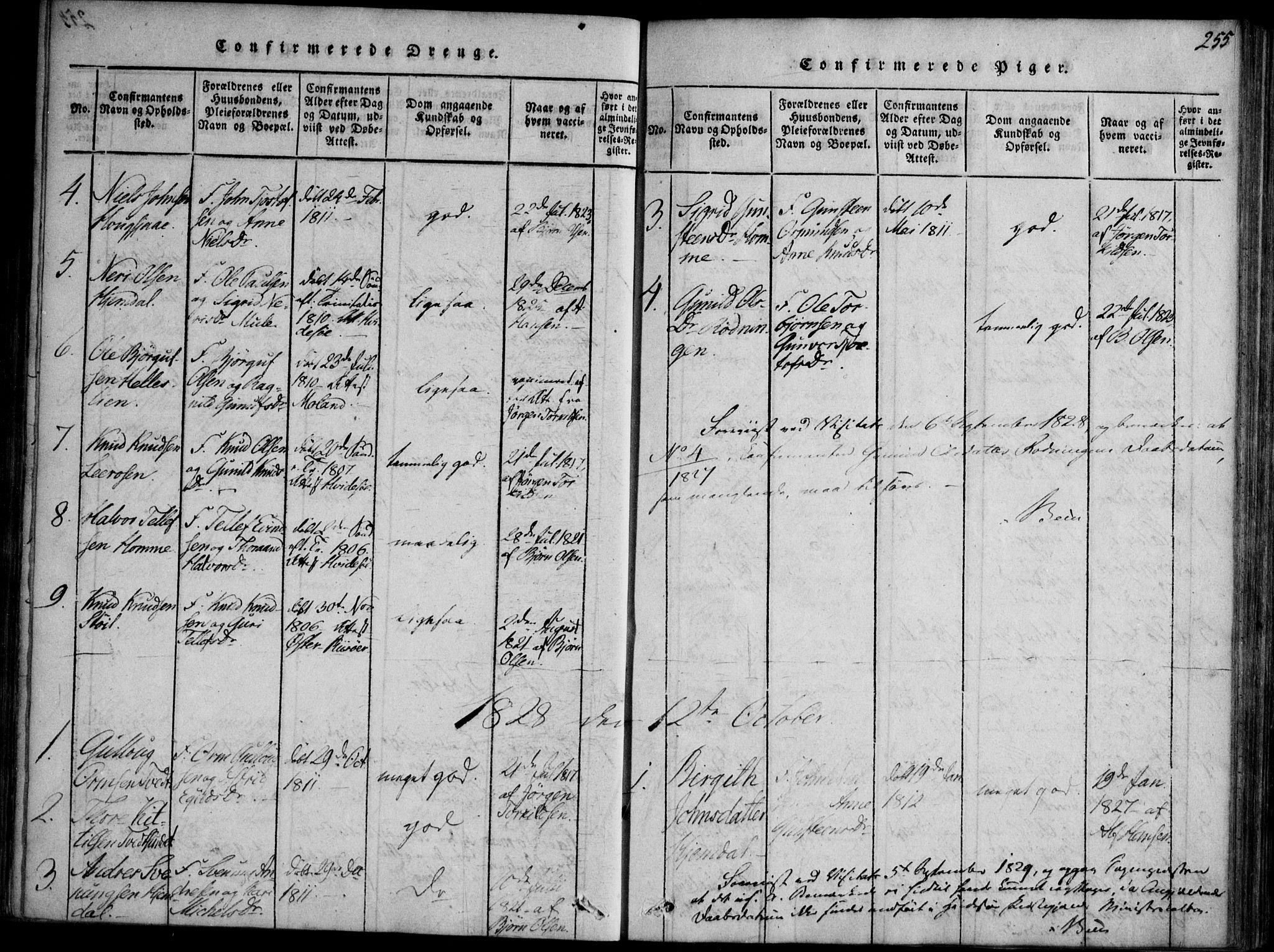 SAKO, Nissedal kirkebøker, F/Fb/L0001: Ministerialbok nr. II 1, 1814-1845, s. 255