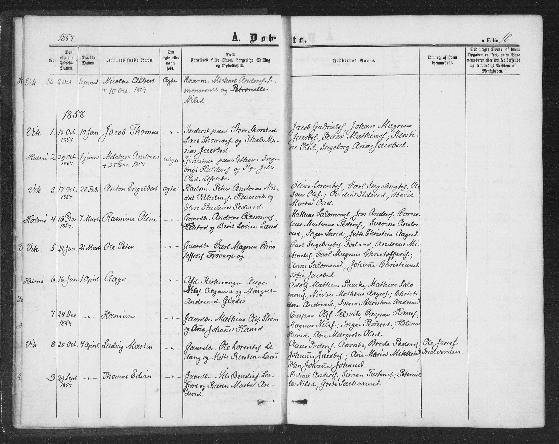 SAT, Ministerialprotokoller, klokkerbøker og fødselsregistre - Nord-Trøndelag, 773/L0615: Ministerialbok nr. 773A06, 1857-1870, s. 10
