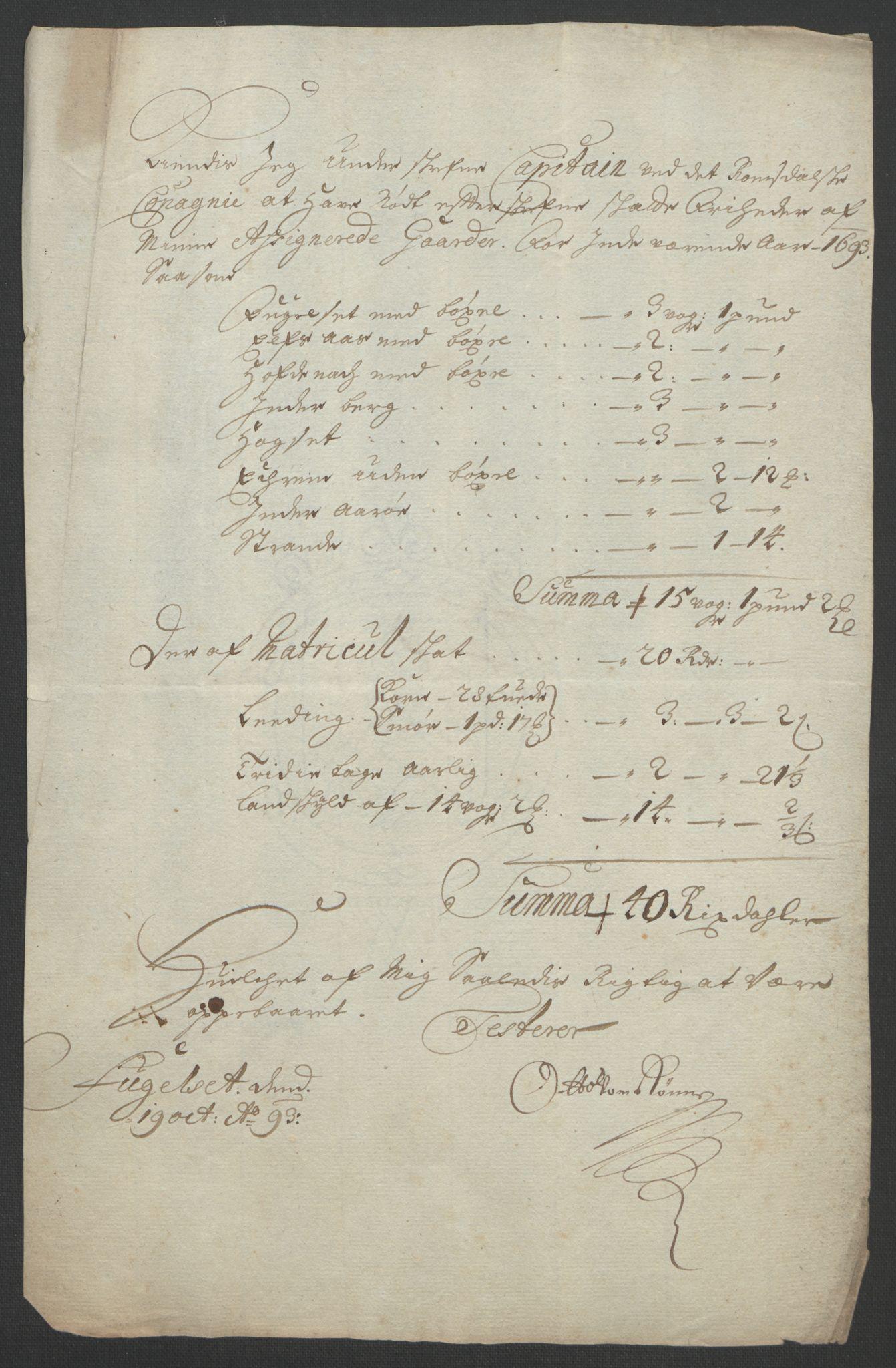 RA, Rentekammeret inntil 1814, Reviderte regnskaper, Fogderegnskap, R55/L3651: Fogderegnskap Romsdal, 1693-1694, s. 149