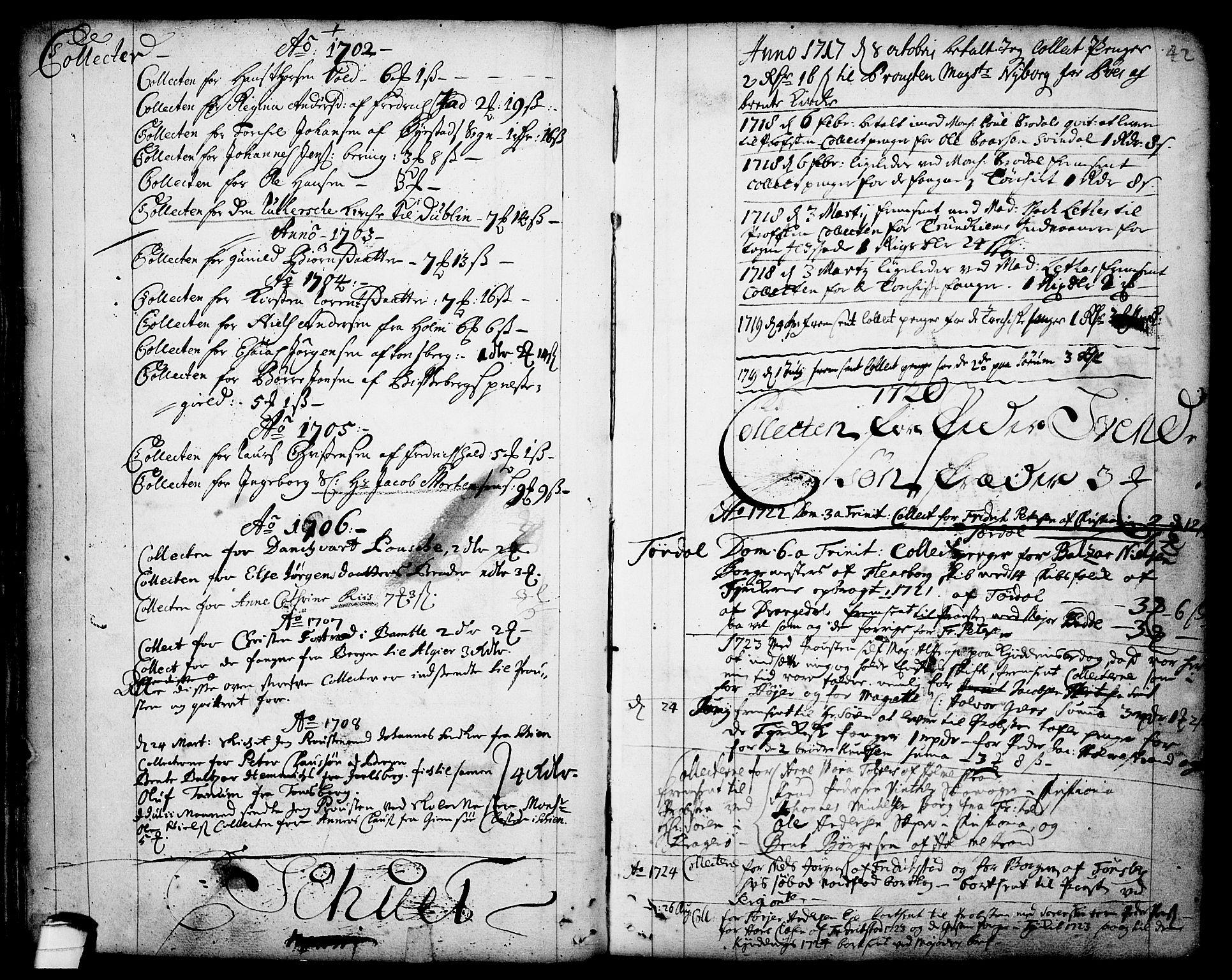 SAKO, Drangedal kirkebøker, F/Fa/L0001: Ministerialbok nr. 1, 1697-1767, s. 42