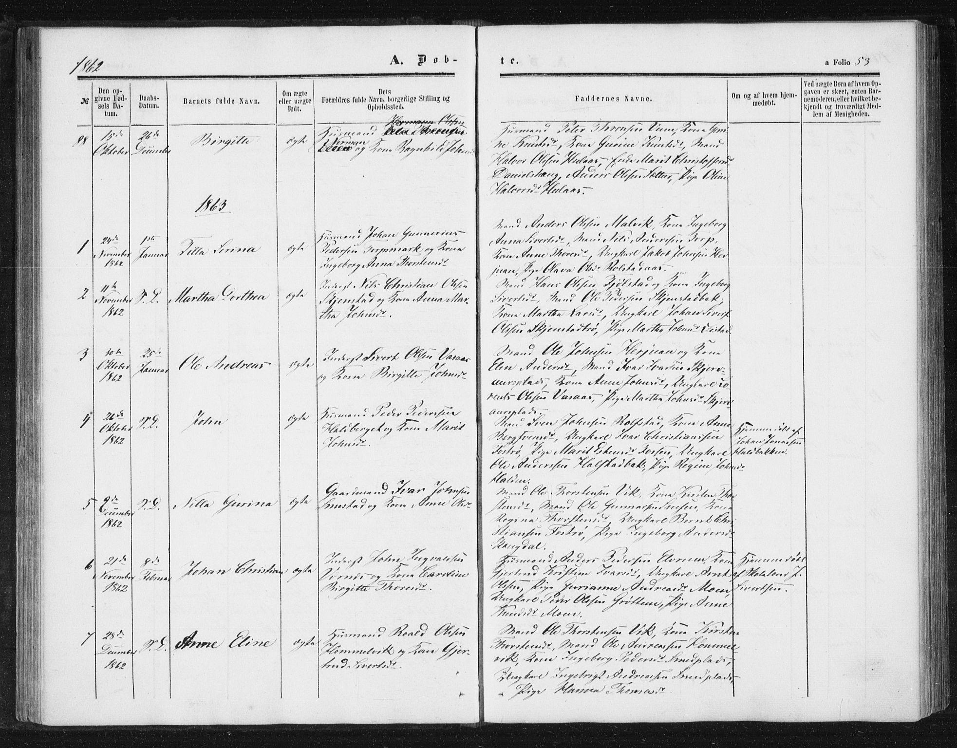 SAT, Ministerialprotokoller, klokkerbøker og fødselsregistre - Sør-Trøndelag, 616/L0408: Ministerialbok nr. 616A05, 1857-1865, s. 53