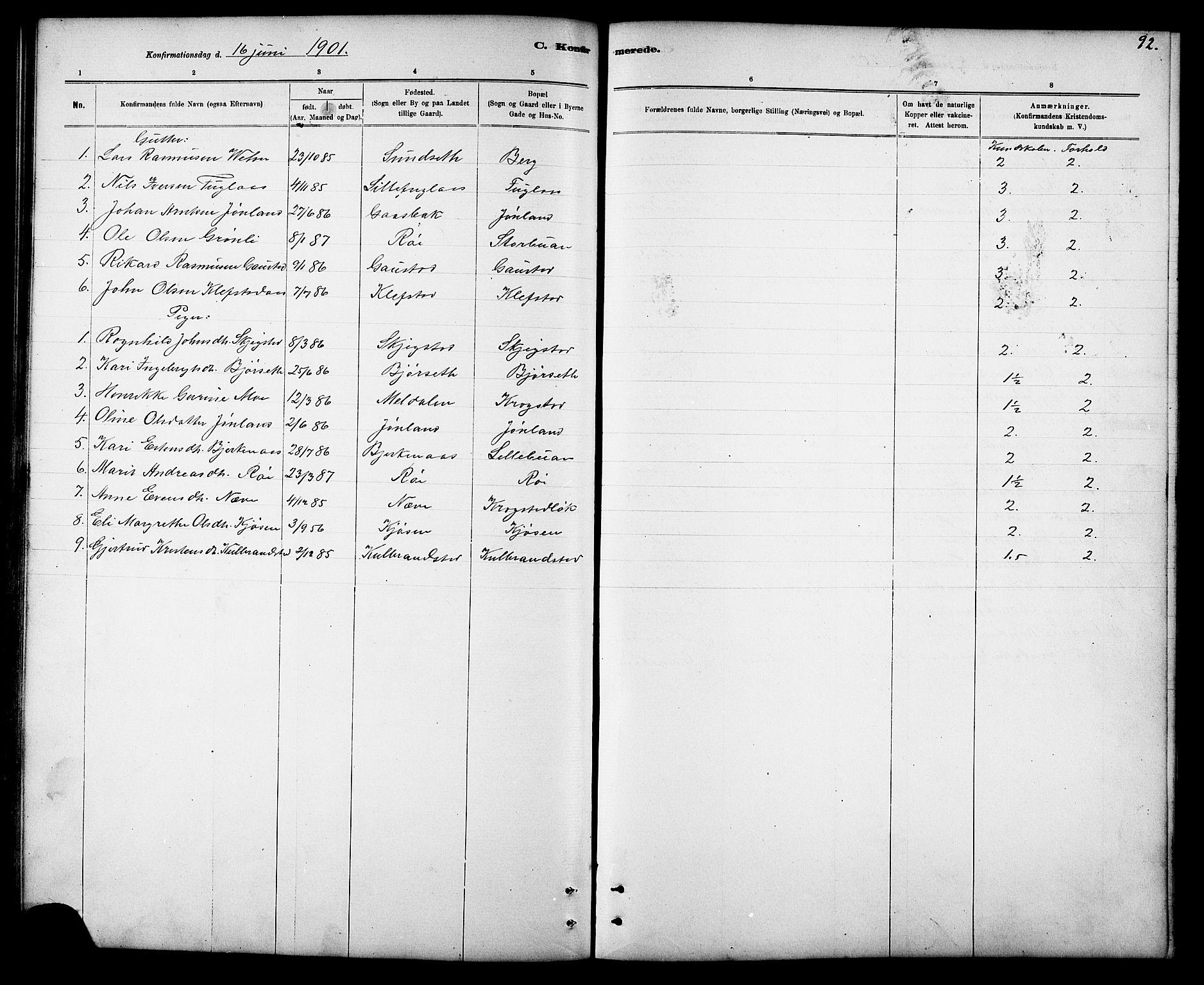 SAT, Ministerialprotokoller, klokkerbøker og fødselsregistre - Sør-Trøndelag, 694/L1132: Klokkerbok nr. 694C04, 1887-1914, s. 92