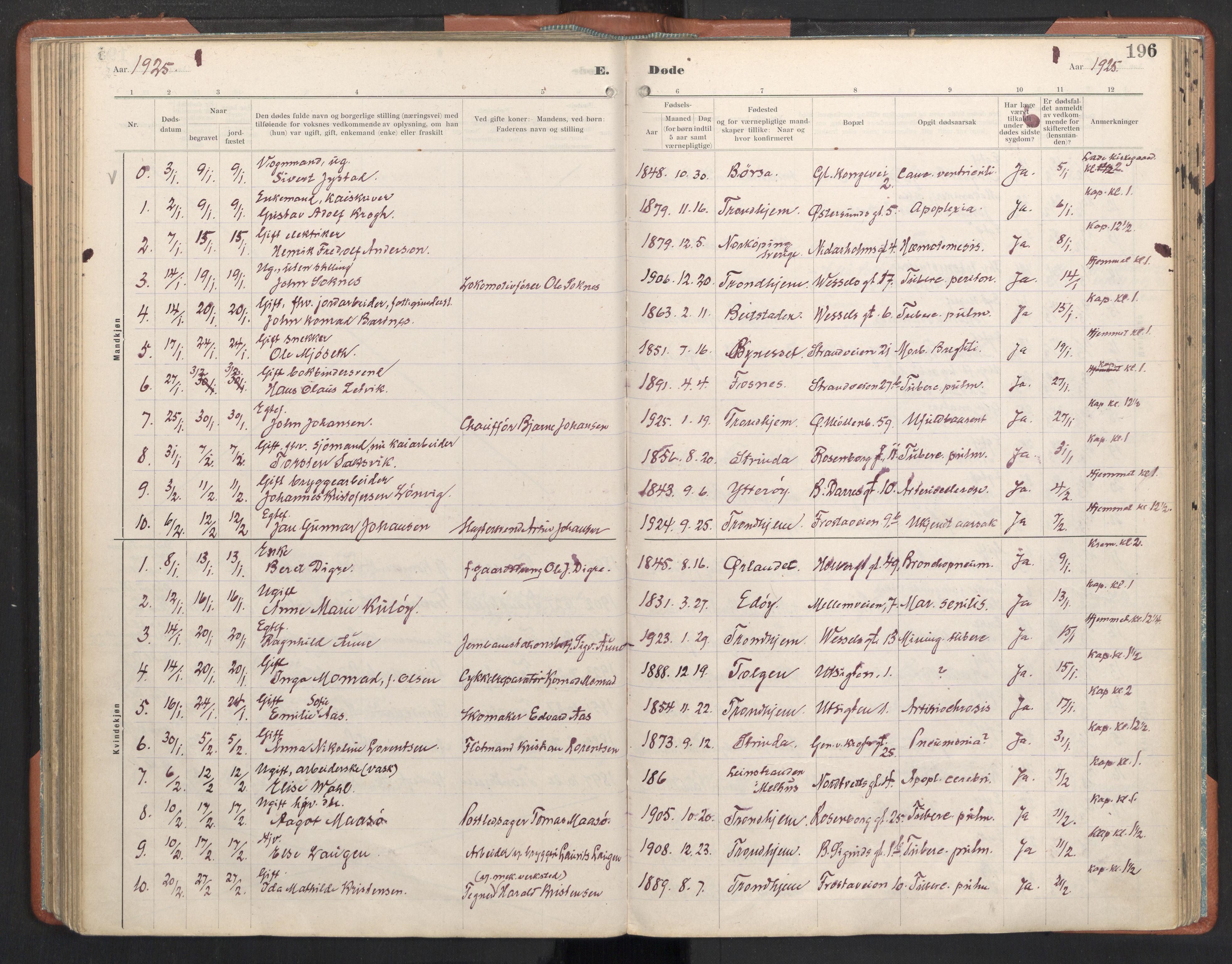 SAT, Ministerialprotokoller, klokkerbøker og fødselsregistre - Sør-Trøndelag, 605/L0245: Ministerialbok nr. 605A07, 1916-1938, s. 196