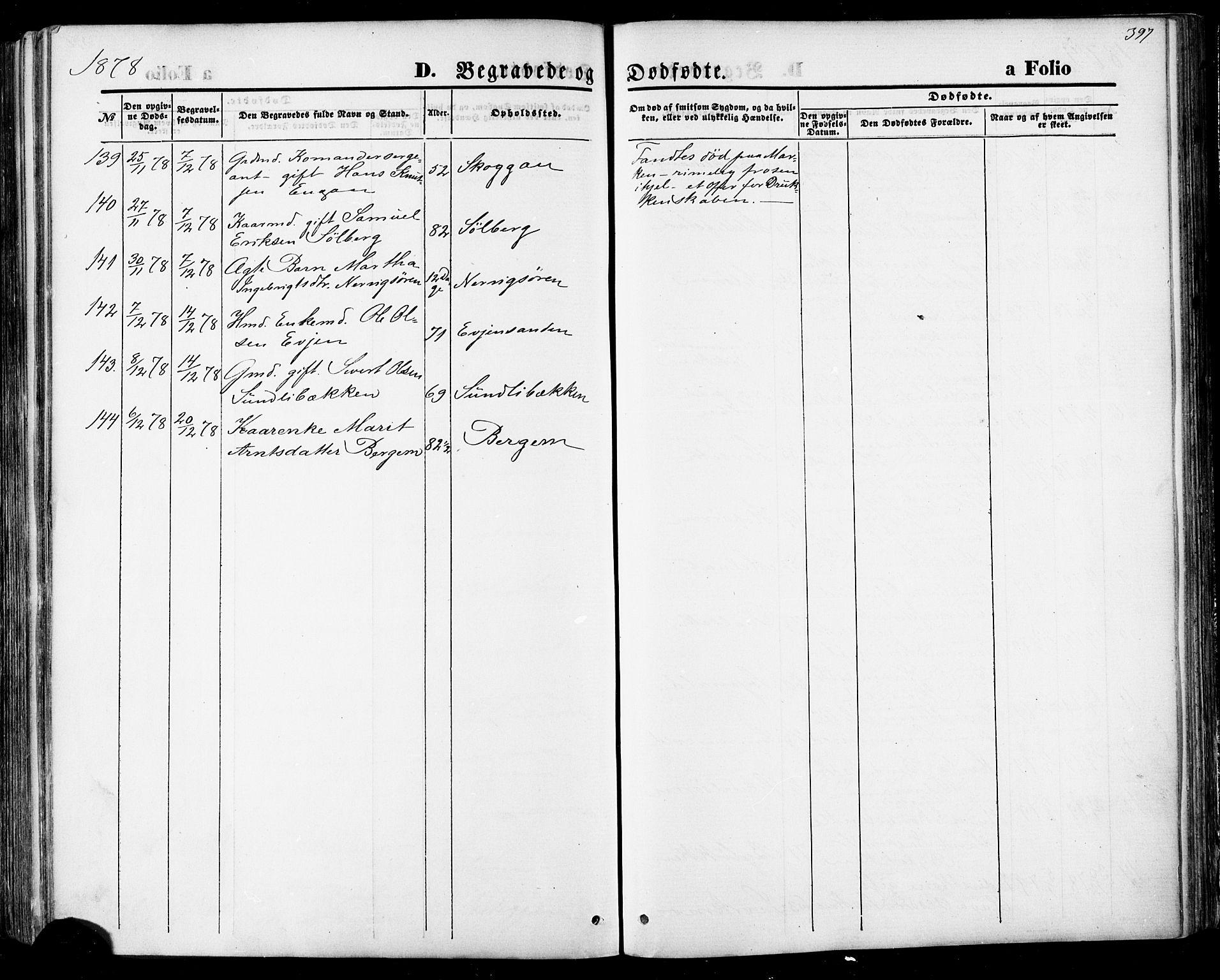 SAT, Ministerialprotokoller, klokkerbøker og fødselsregistre - Sør-Trøndelag, 668/L0807: Ministerialbok nr. 668A07, 1870-1880, s. 397