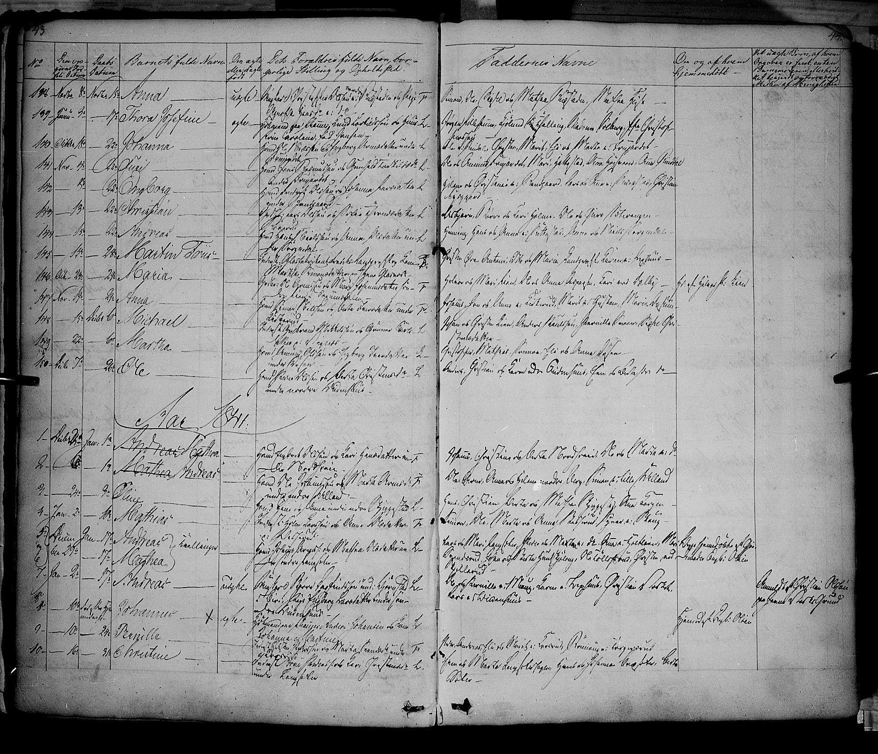 SAH, Fåberg prestekontor, Ministerialbok nr. 5, 1836-1854, s. 43-44
