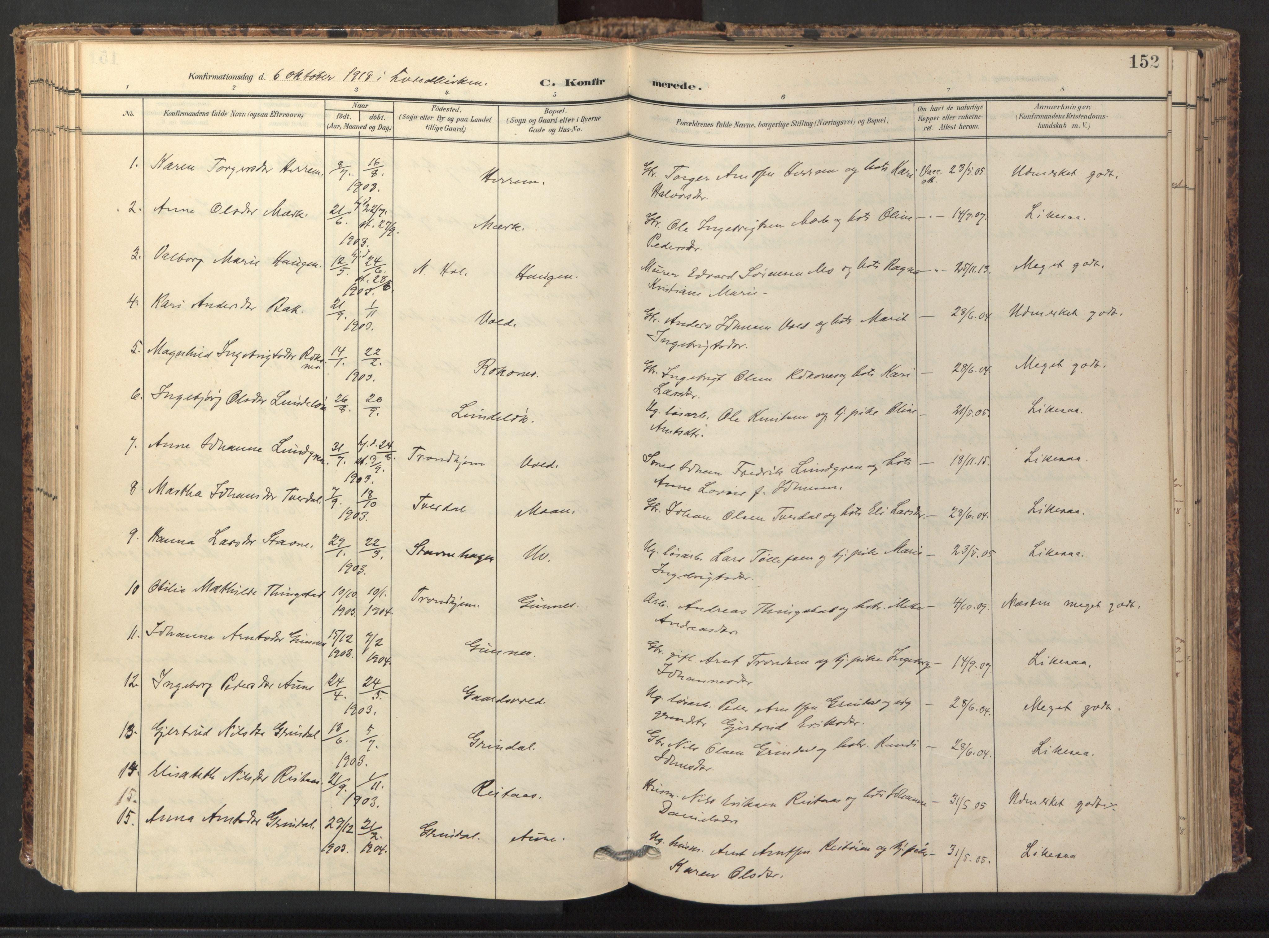 SAT, Ministerialprotokoller, klokkerbøker og fødselsregistre - Sør-Trøndelag, 674/L0873: Ministerialbok nr. 674A05, 1908-1923, s. 152