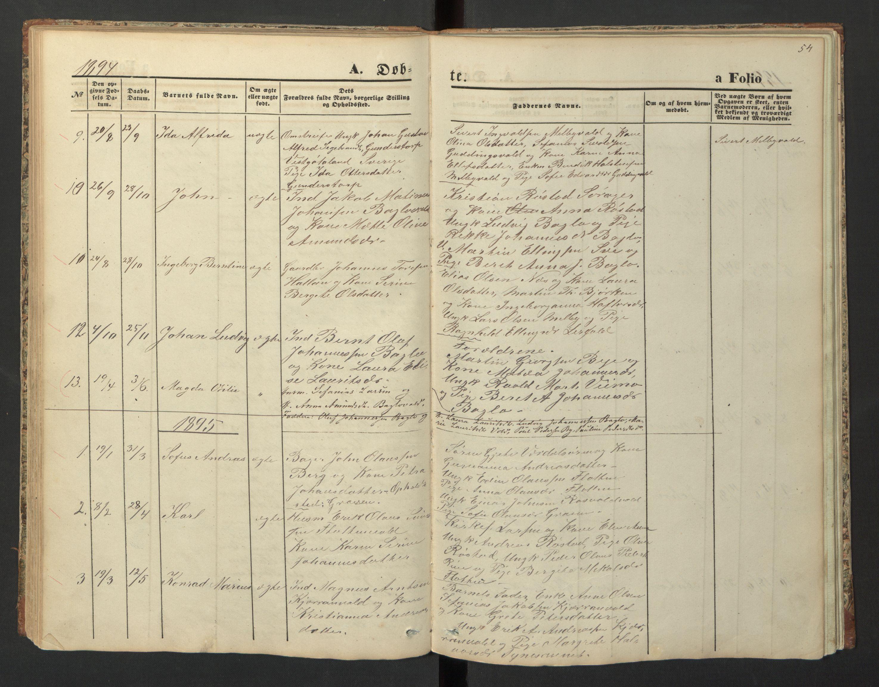 SAT, Ministerialprotokoller, klokkerbøker og fødselsregistre - Nord-Trøndelag, 726/L0271: Klokkerbok nr. 726C02, 1869-1897, s. 54