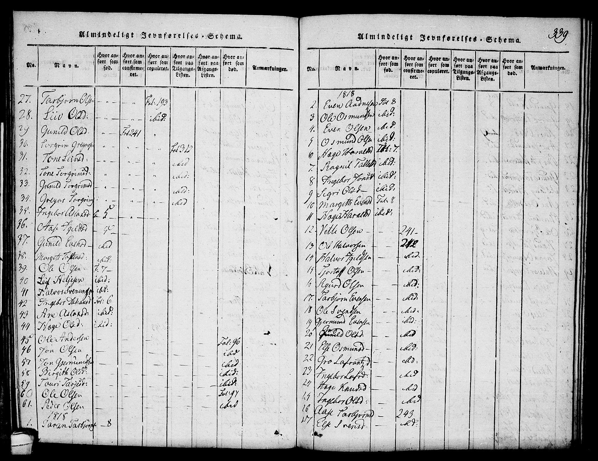 SAKO, Seljord kirkebøker, F/Fc/L0001: Ministerialbok nr. III 1, 1815-1831, s. 339