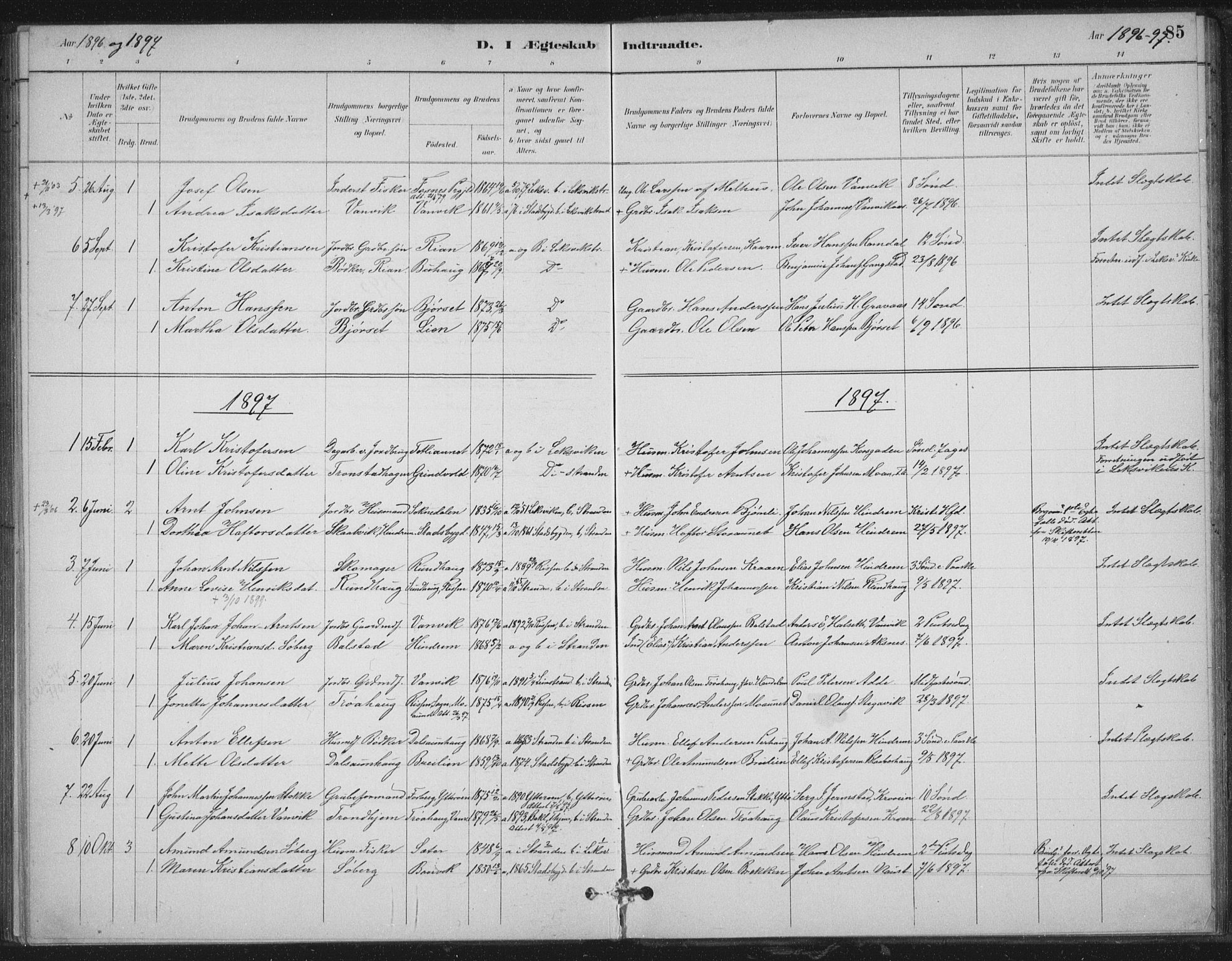 SAT, Ministerialprotokoller, klokkerbøker og fødselsregistre - Nord-Trøndelag, 702/L0023: Ministerialbok nr. 702A01, 1883-1897, s. 85