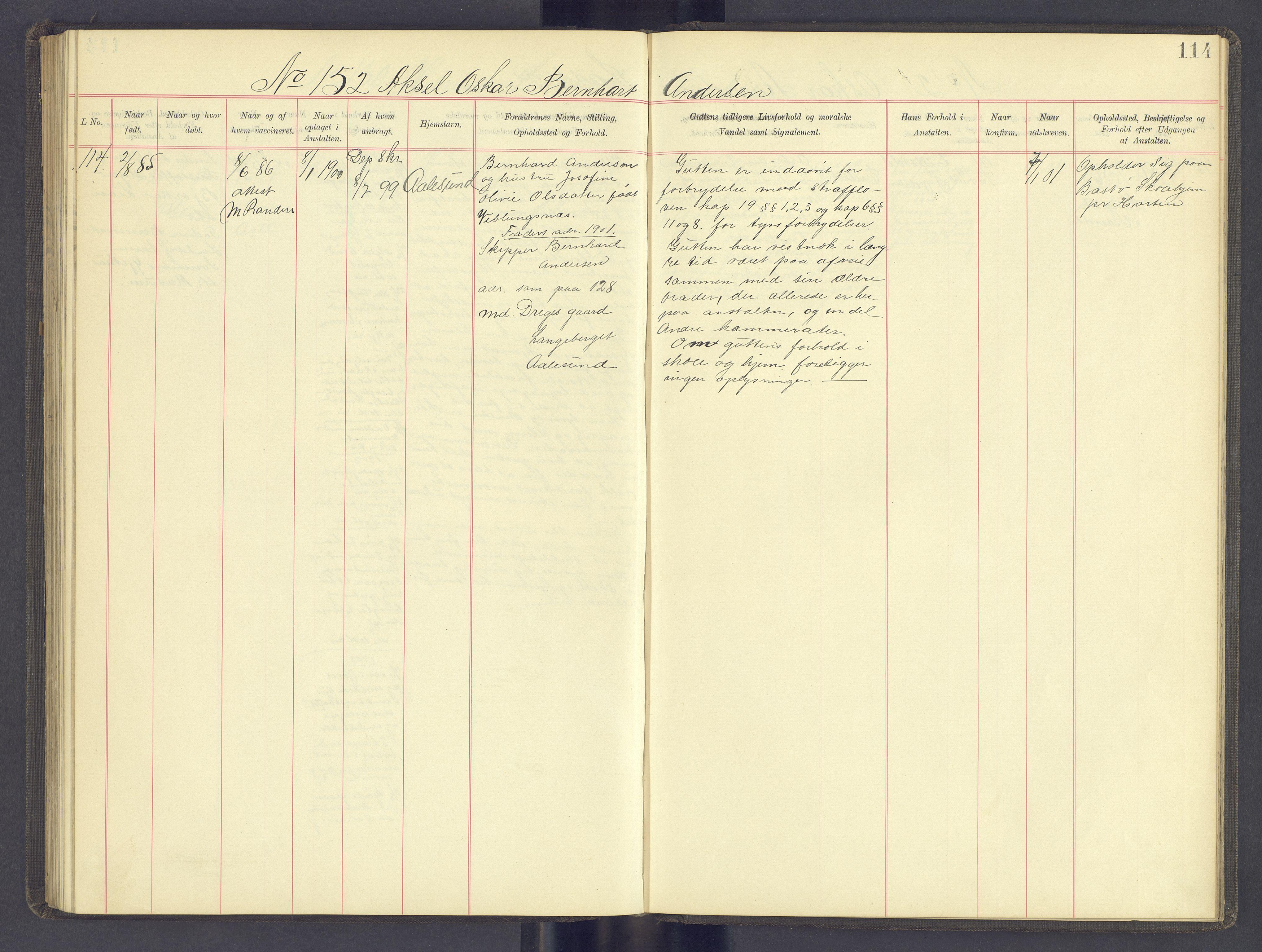 SAH, Toftes Gave, F/Fc/L0005: Elevprotokoll, 1897-1900, s. 114
