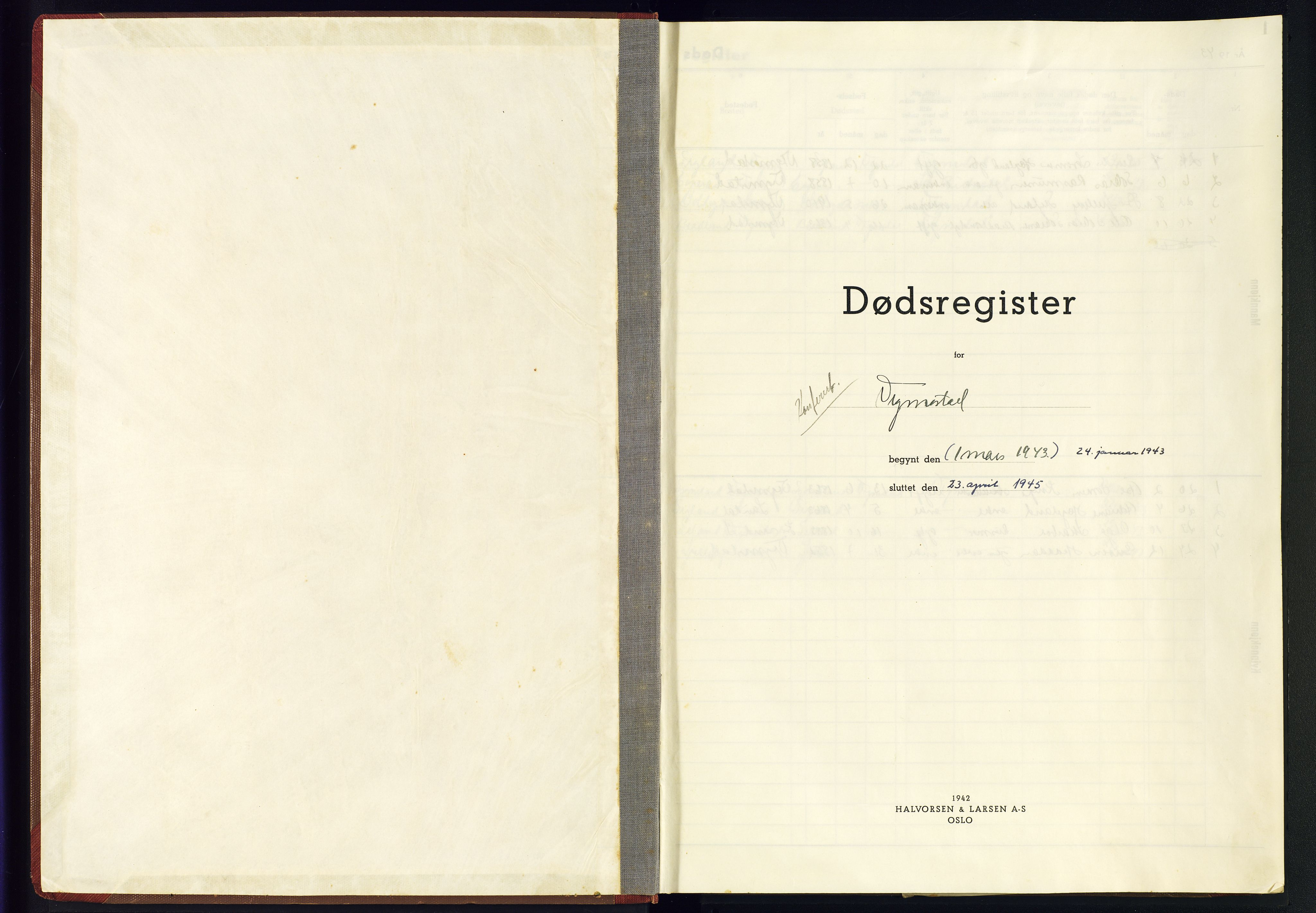 SAK, Nord-Audnedal sokneprestkontor, J/Jb/L0003: A-VI-3 - Dødsfallsregister Vigmostad, 1943-1945