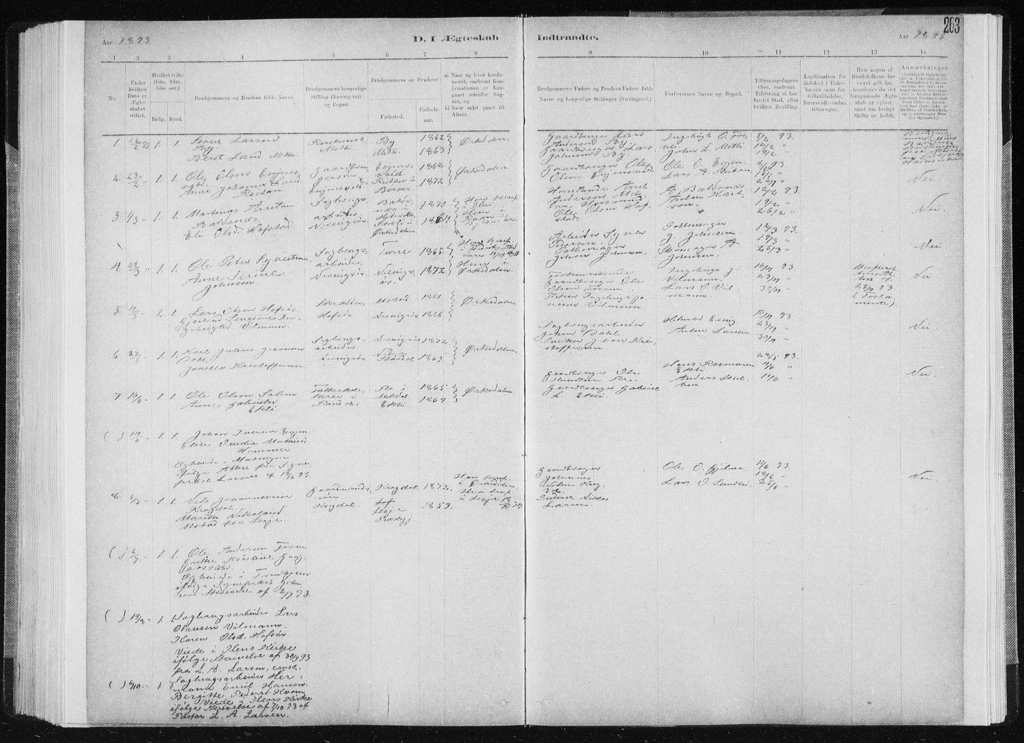 SAT, Ministerialprotokoller, klokkerbøker og fødselsregistre - Sør-Trøndelag, 668/L0818: Klokkerbok nr. 668C07, 1885-1898, s. 263
