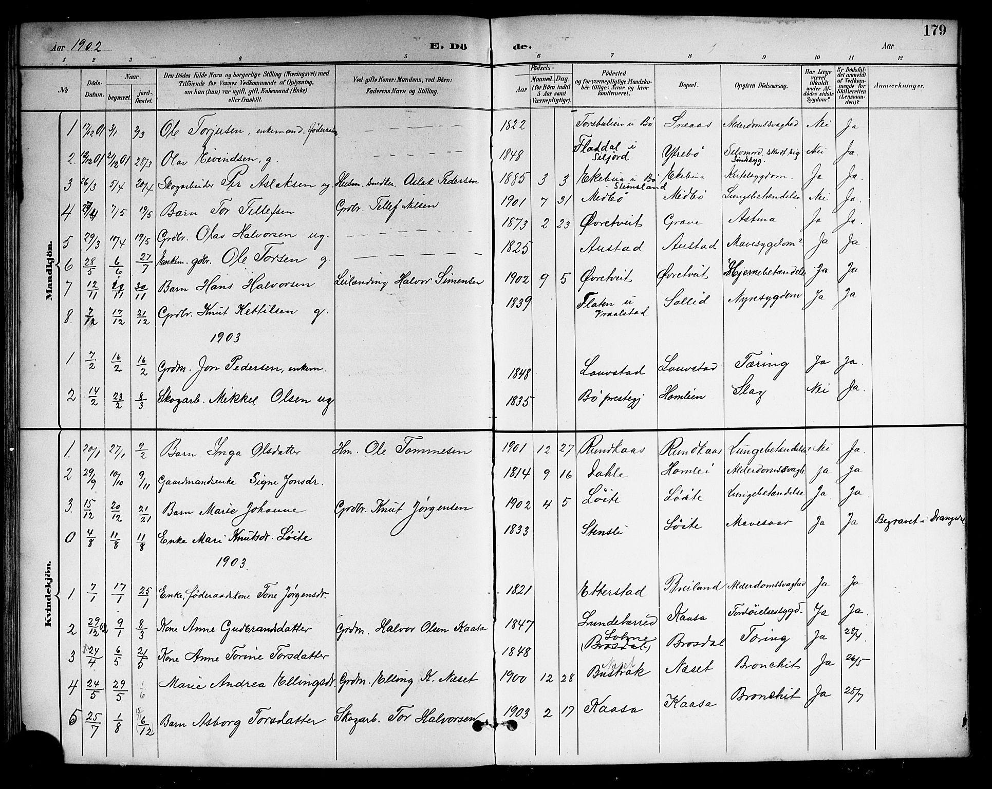 SAKO, Drangedal kirkebøker, G/Gb/L0002: Klokkerbok nr. II 2, 1895-1918, s. 179