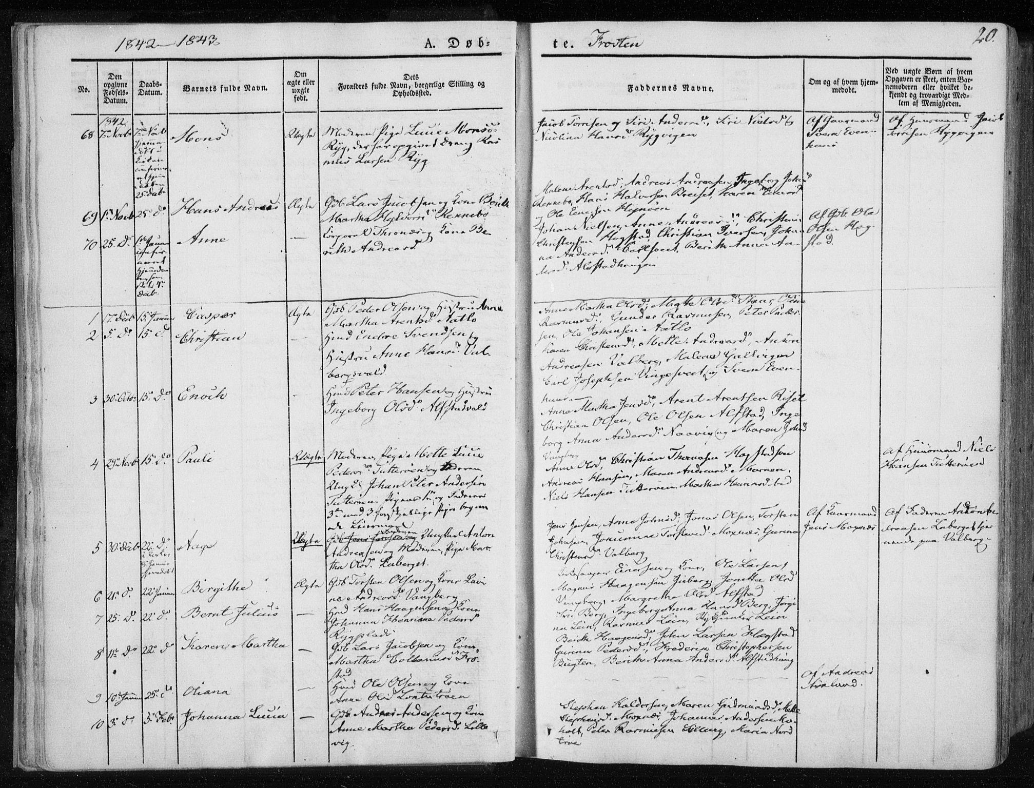 SAT, Ministerialprotokoller, klokkerbøker og fødselsregistre - Nord-Trøndelag, 713/L0115: Ministerialbok nr. 713A06, 1838-1851, s. 20