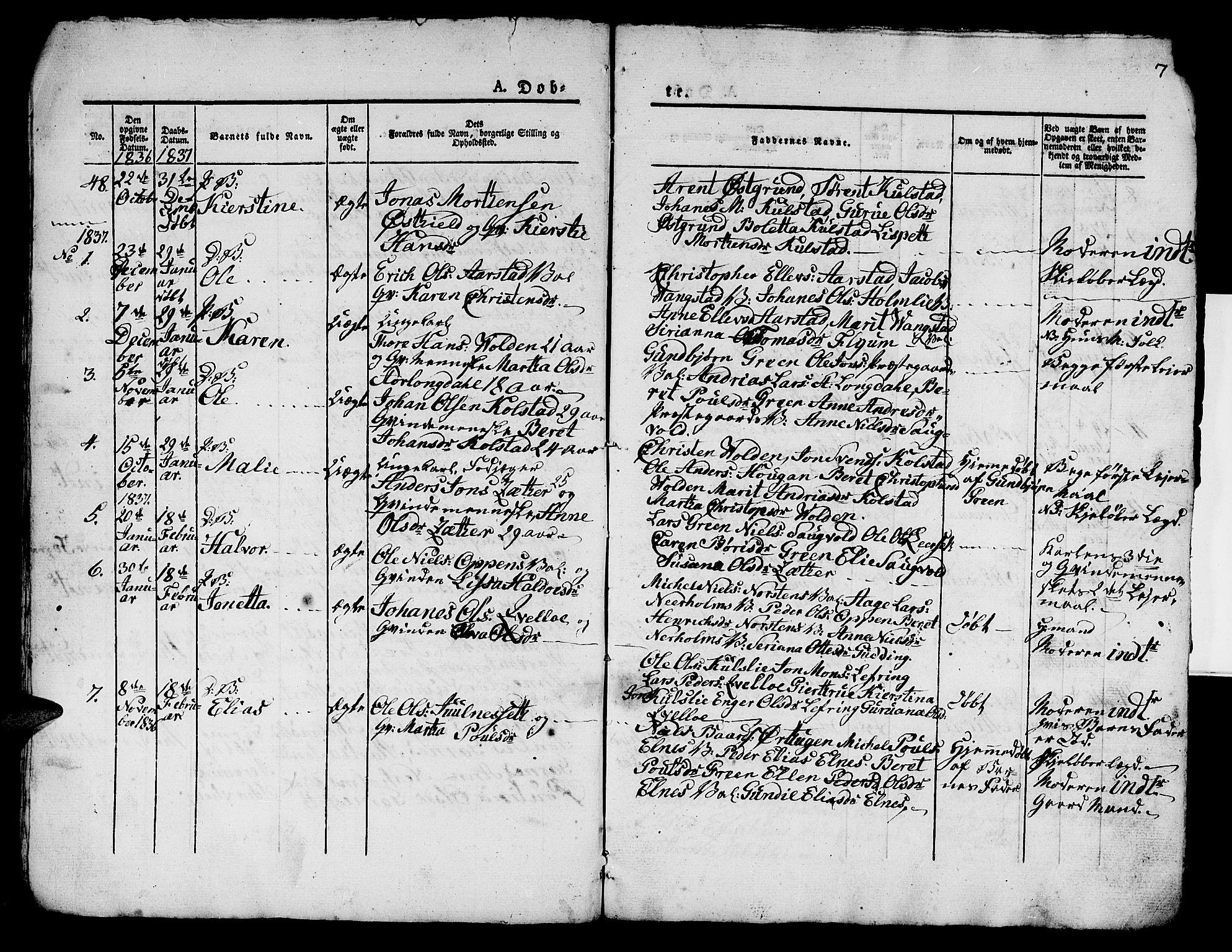 SAT, Ministerialprotokoller, klokkerbøker og fødselsregistre - Nord-Trøndelag, 724/L0266: Klokkerbok nr. 724C02, 1836-1843, s. 7