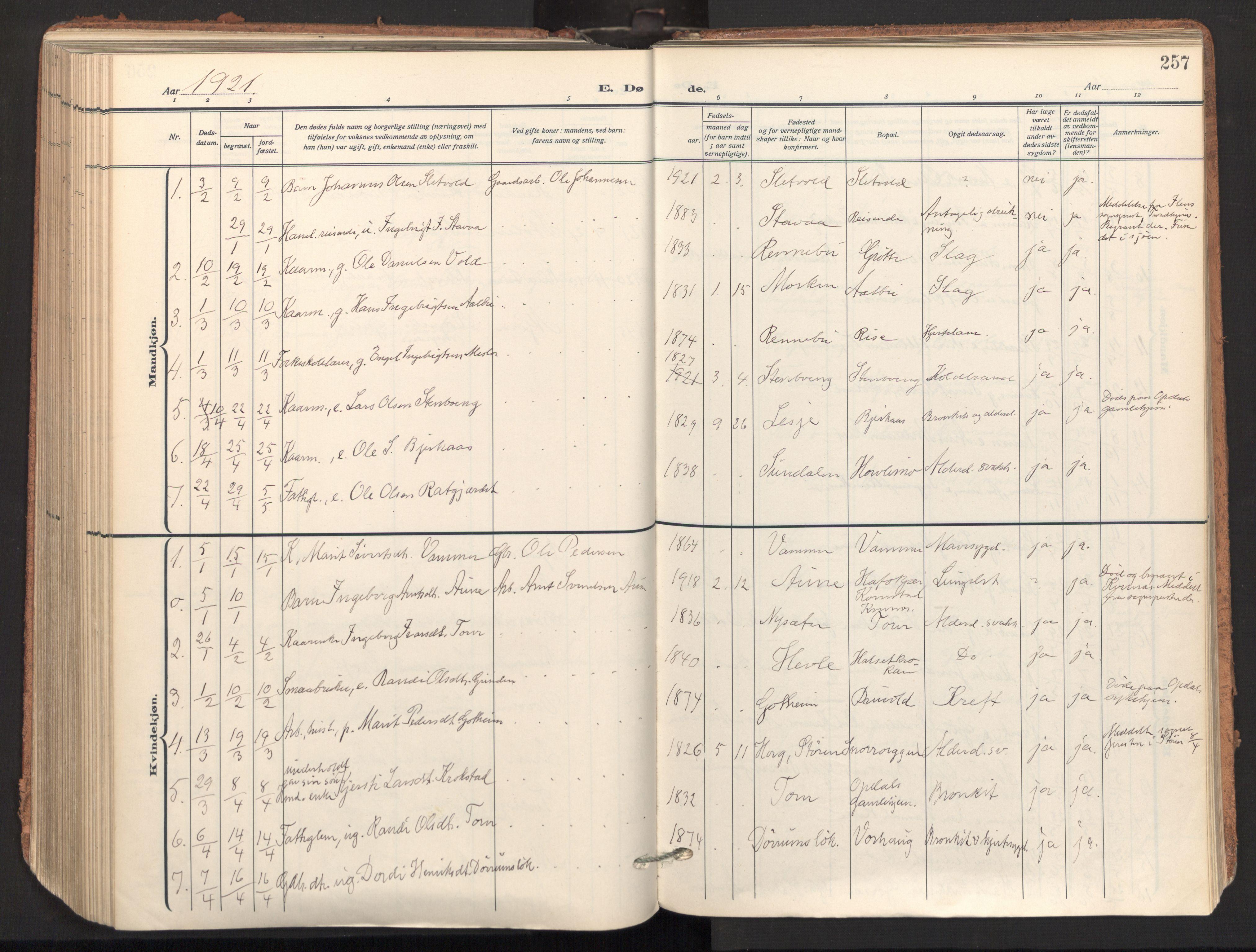 SAT, Ministerialprotokoller, klokkerbøker og fødselsregistre - Sør-Trøndelag, 678/L0909: Ministerialbok nr. 678A17, 1912-1930, s. 257