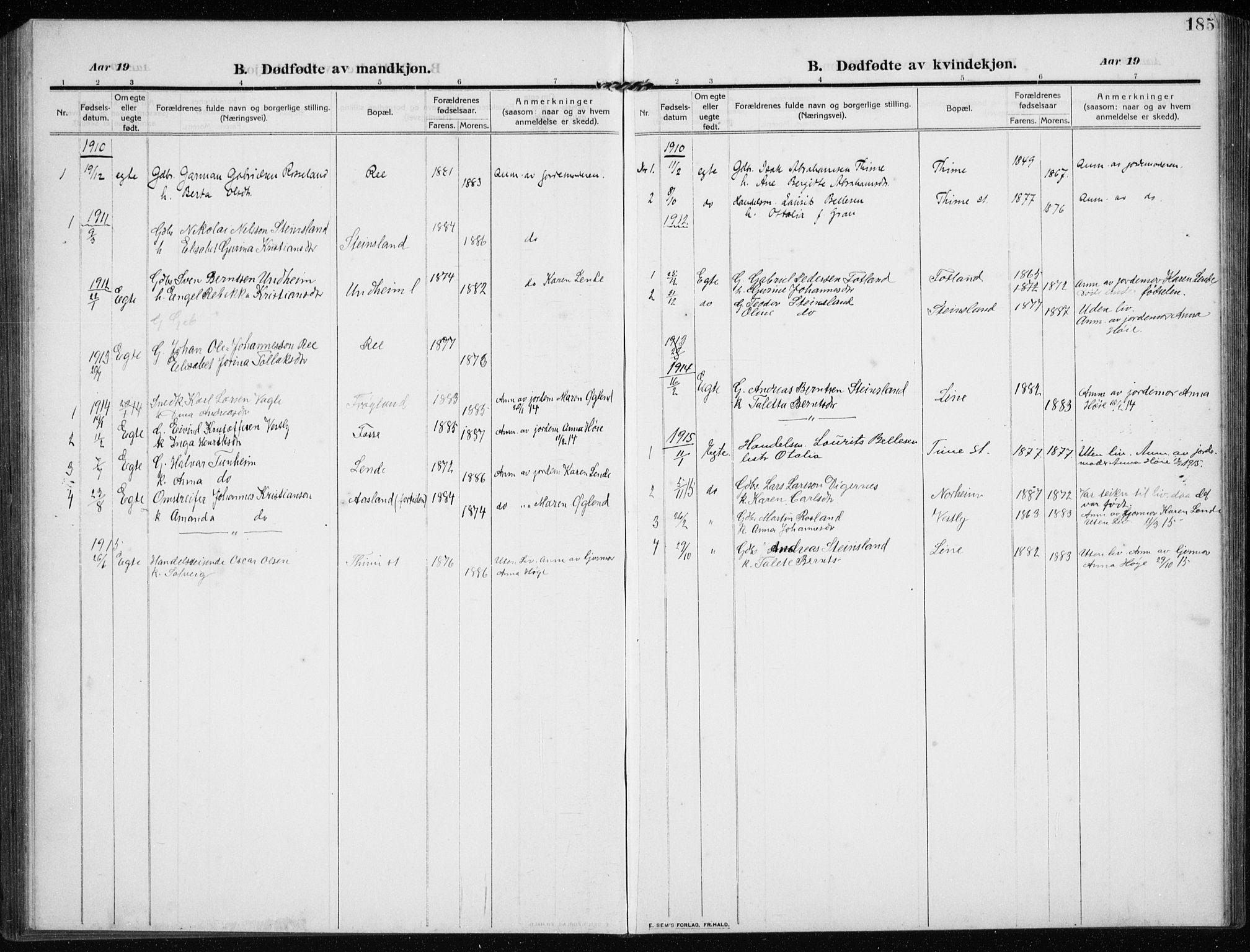 SAST, Time sokneprestkontor, 30BB/L0001: Klokkerbok nr. B 1, 1910-1932, s. 185
