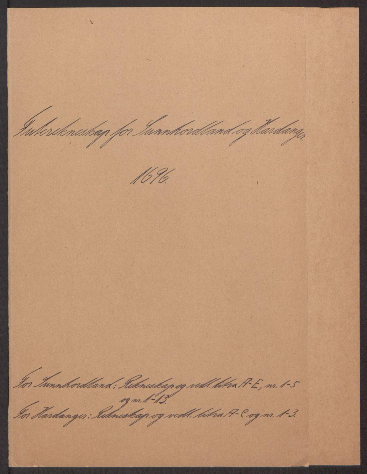 RA, Rentekammeret inntil 1814, Reviderte regnskaper, Fogderegnskap, R48/L2976: Fogderegnskap Sunnhordland og Hardanger, 1695-1696, s. 268