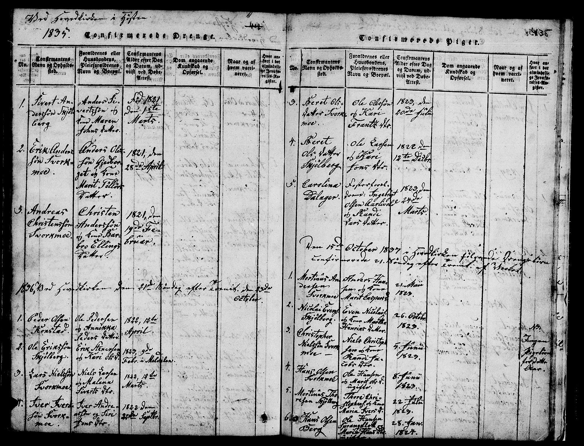 SAT, Ministerialprotokoller, klokkerbøker og fødselsregistre - Sør-Trøndelag, 671/L0842: Klokkerbok nr. 671C01, 1816-1867, s. 434-435