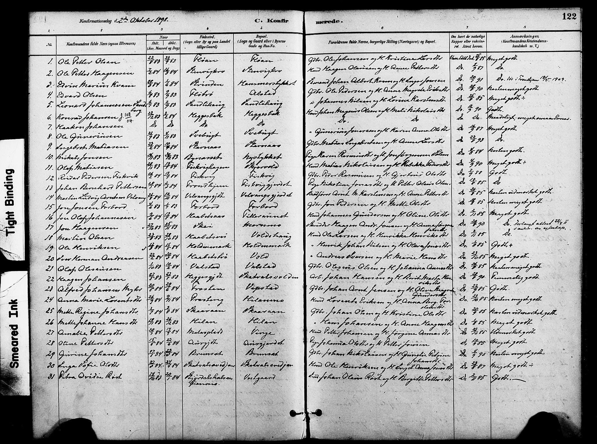 SAT, Ministerialprotokoller, klokkerbøker og fødselsregistre - Nord-Trøndelag, 712/L0100: Ministerialbok nr. 712A01, 1880-1900, s. 122