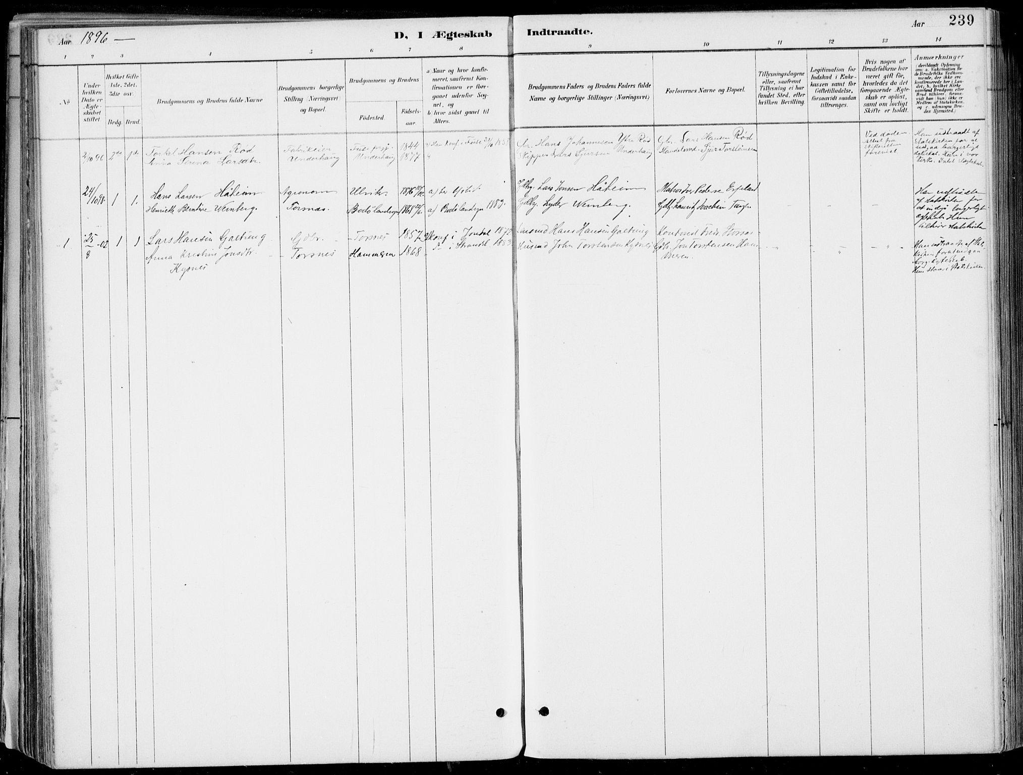 SAB, Strandebarm sokneprestembete, H/Haa: Ministerialbok nr. E  1, 1886-1908, s. 239