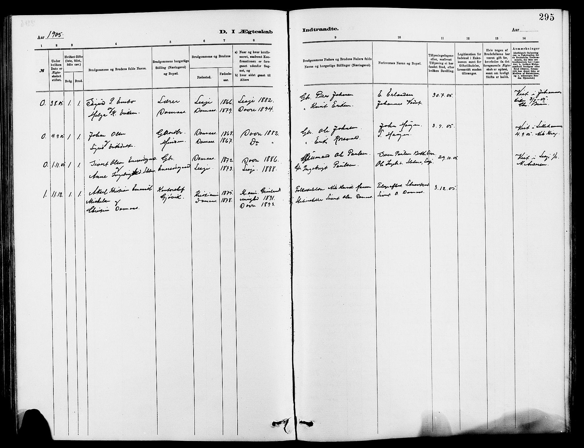 SAH, Dovre prestekontor, Klokkerbok nr. 2, 1881-1907, s. 295