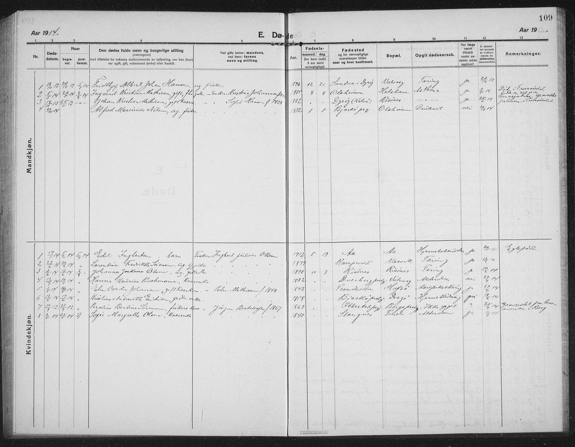 SATØ, Tranøy sokneprestkontor, I/Ia/Iab/L0019klokker: Klokkerbok nr. 19, 1914-1940, s. 109