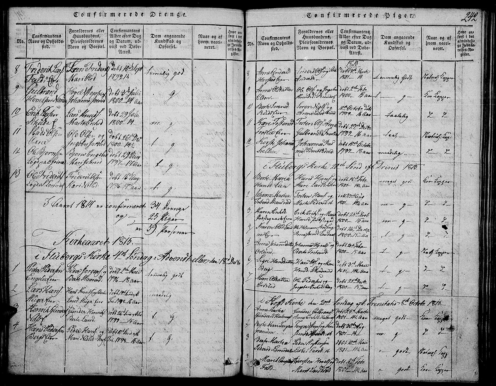 SAH, Land prestekontor, Ministerialbok nr. 7, 1814-1830, s. 242