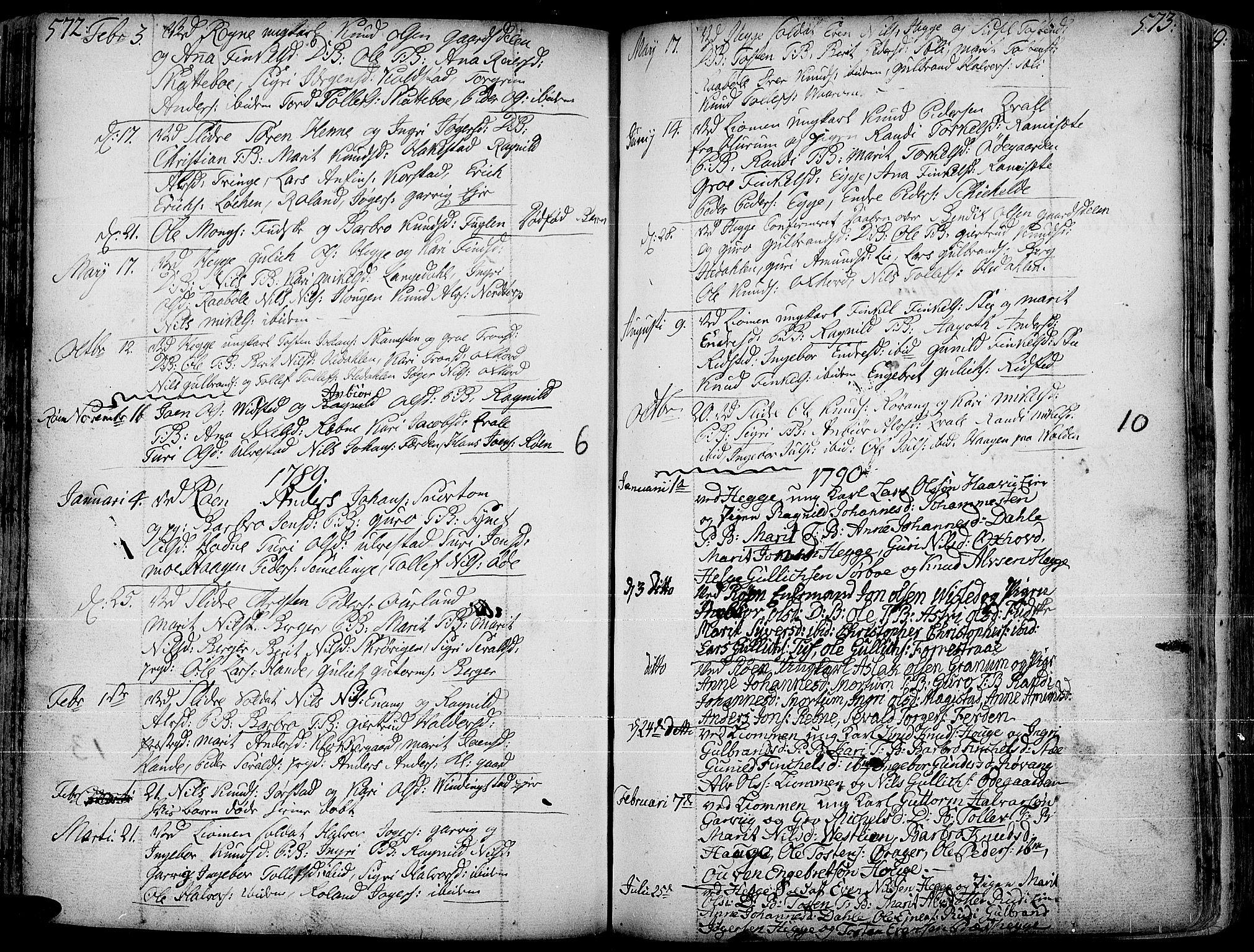 SAH, Slidre prestekontor, Ministerialbok nr. 1, 1724-1814, s. 572-573