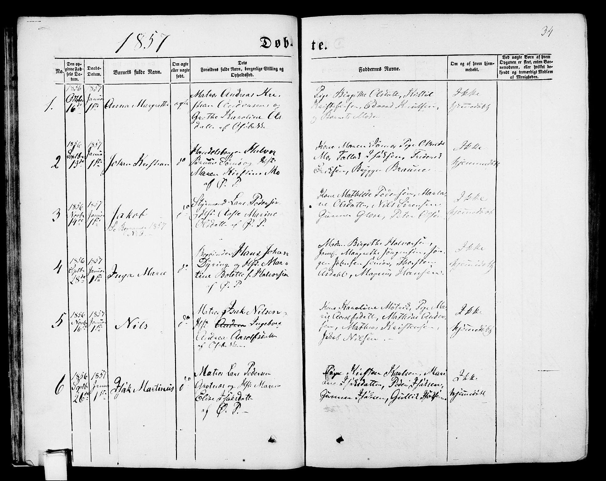 SAKO, Porsgrunn kirkebøker , G/Gb/L0004: Klokkerbok nr. II 4, 1853-1882, s. 34