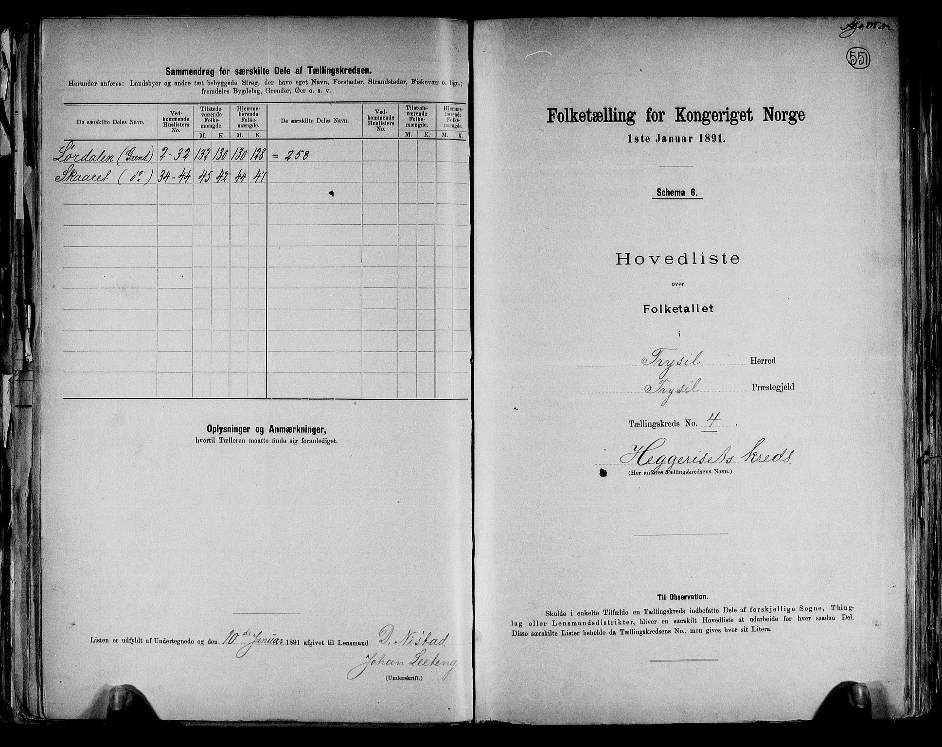 RA, Folketelling 1891 for 0428 Trysil herred, 1891, s. 12