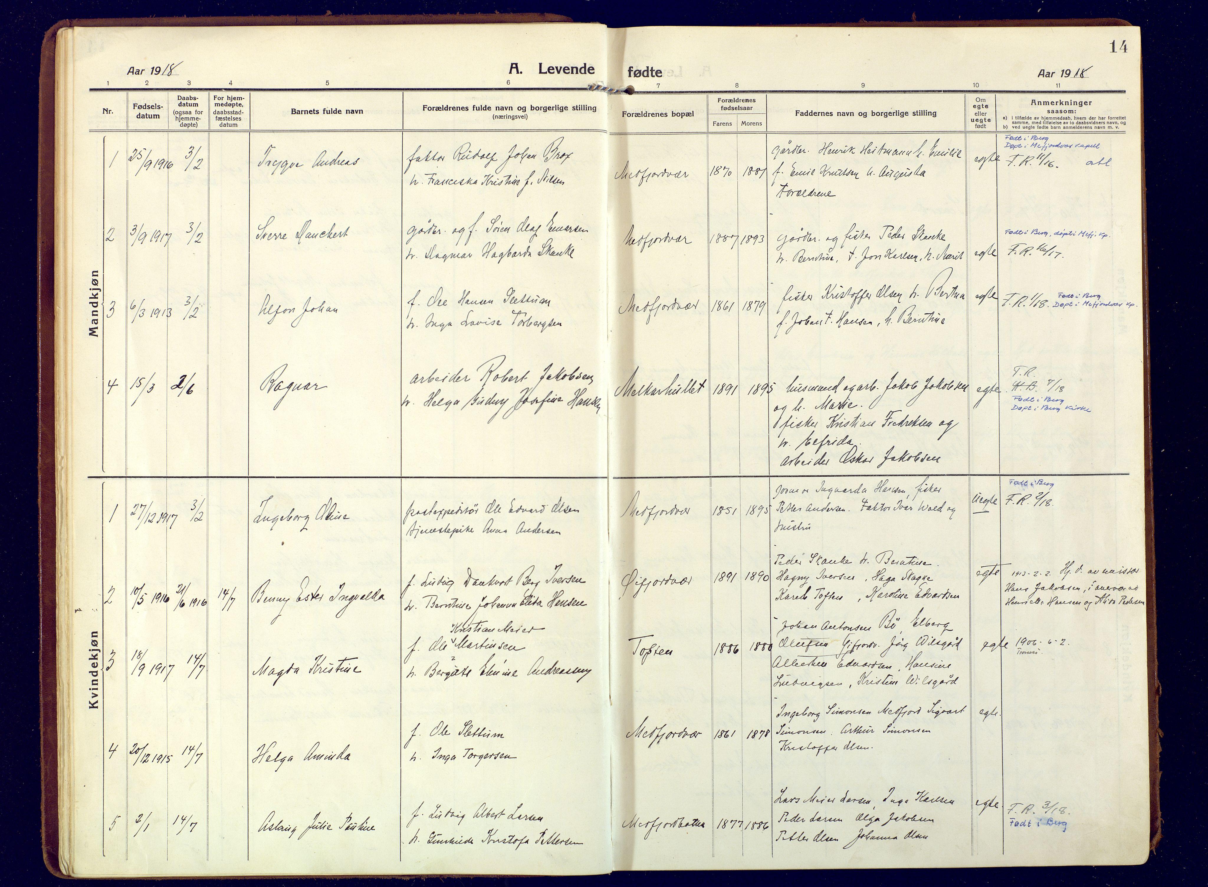 SATØ, Mefjord/Berg sokneprestkontor, G/Ga/Gaa: Ministerialbok nr. 9, 1916-1928, s. 14