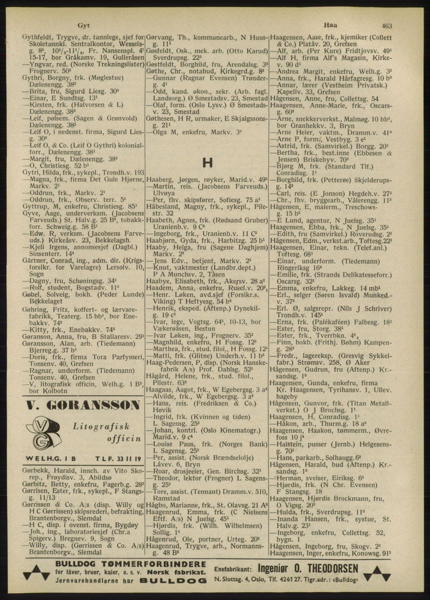 RA, Oslo adressebok (publikasjon)*, 1947, s. 463